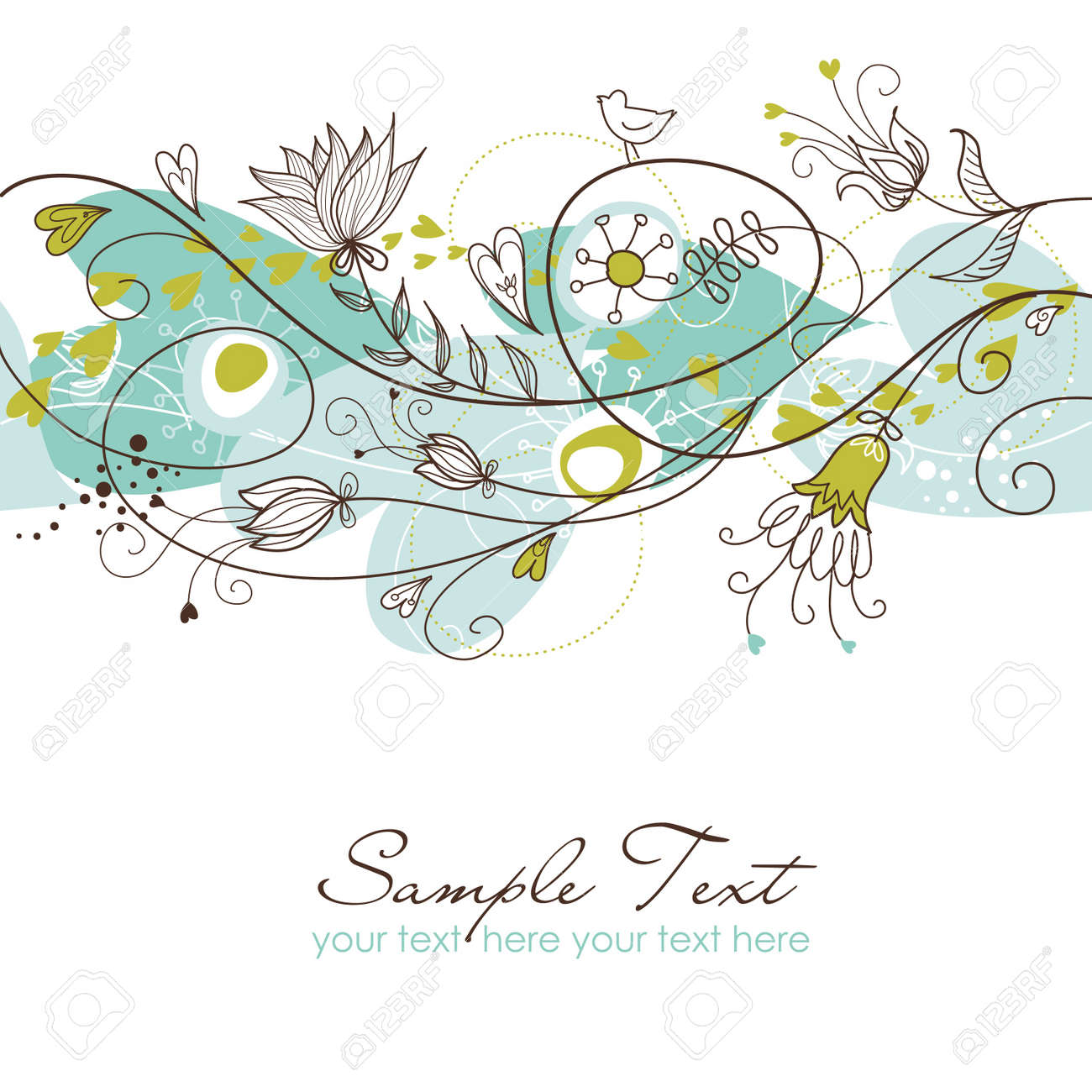 Retro floral seamless background - 10937494