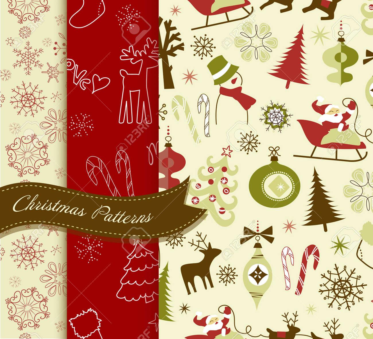 Set of Retro Christmas patterns Stock Vector - 11059359