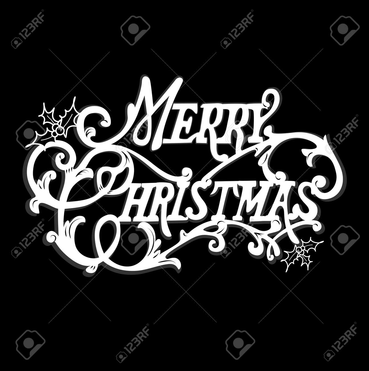 Black And White Christmas Card. Merry Christmas Lettering Royalty ...