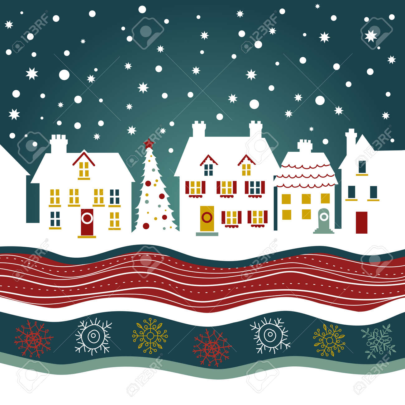 Christmas card, cute town at christmas time Stock Vector - 11059229