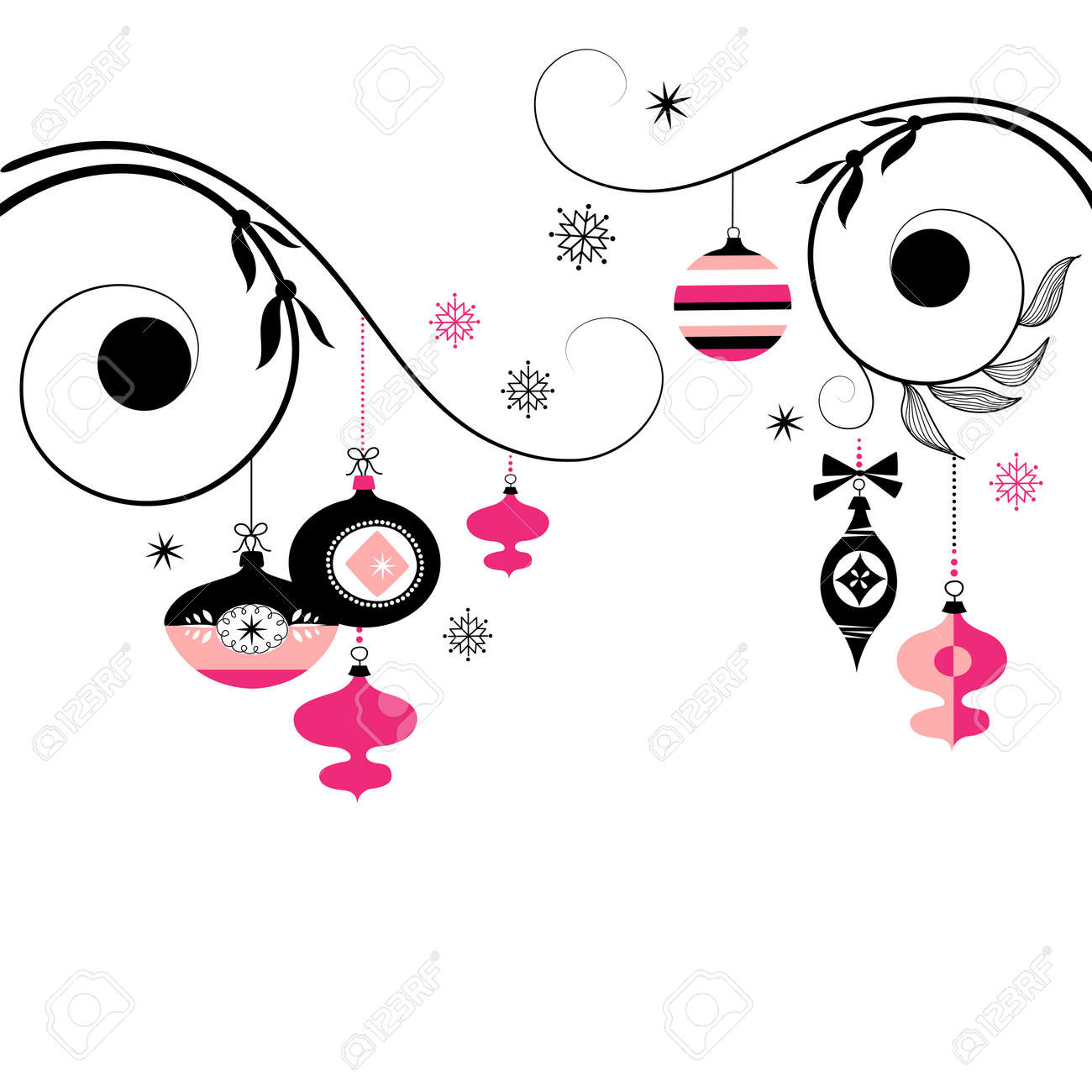 Christmas ornament black and white - Black And Pink Christmas Ornaments Stock Vector 11150329