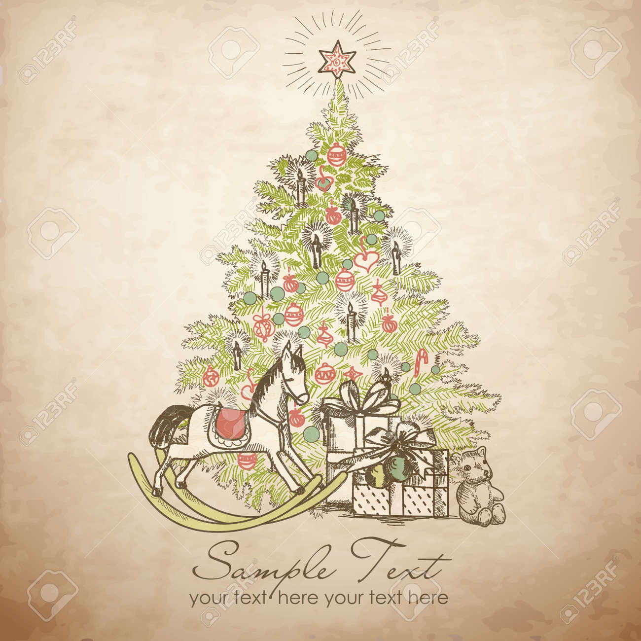 Vintage Christmas Card Beautiful Christmas Tree Illustration Royalty Free Cliparts Vectors And Stock Illustration Image 11158920