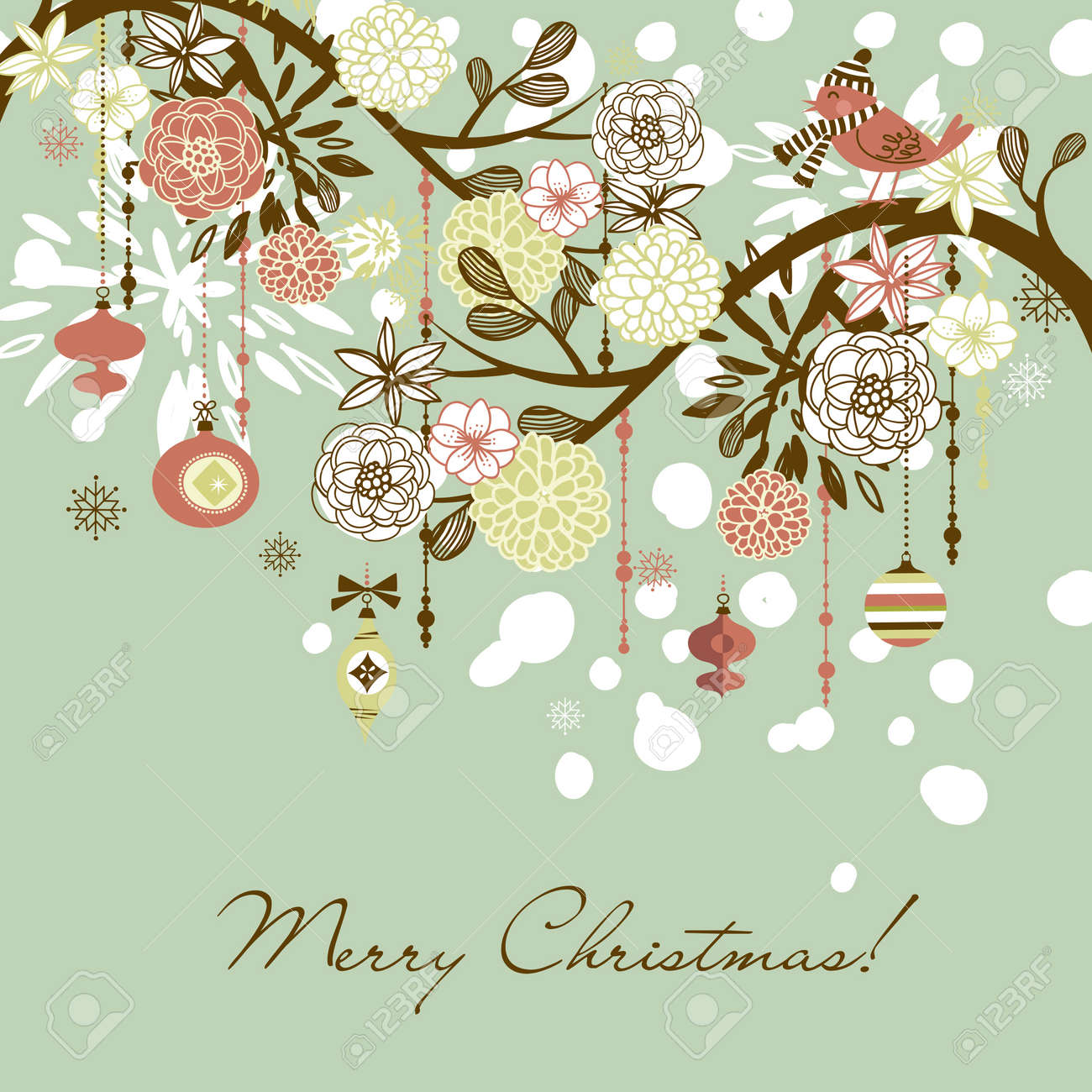 Floral Winter Background. Stock Photo, Picture And Royalty Free ...