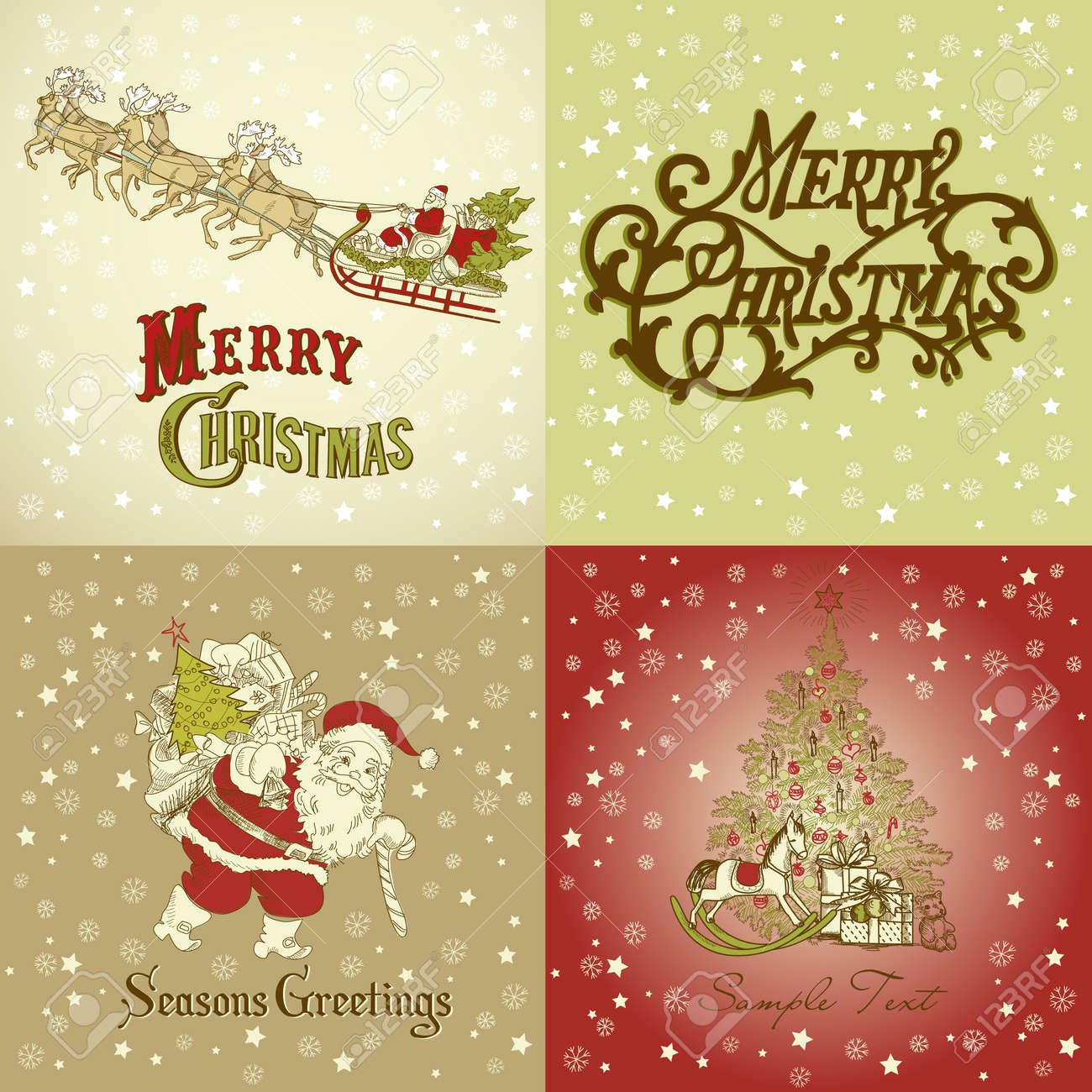 Set of Christmas Cards in vintage style Stock Photo - 11586693