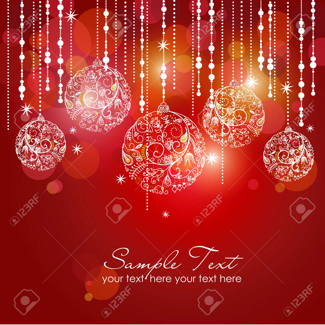 Red card with christmas balls, vector illustration Stock Illustration - 11586691