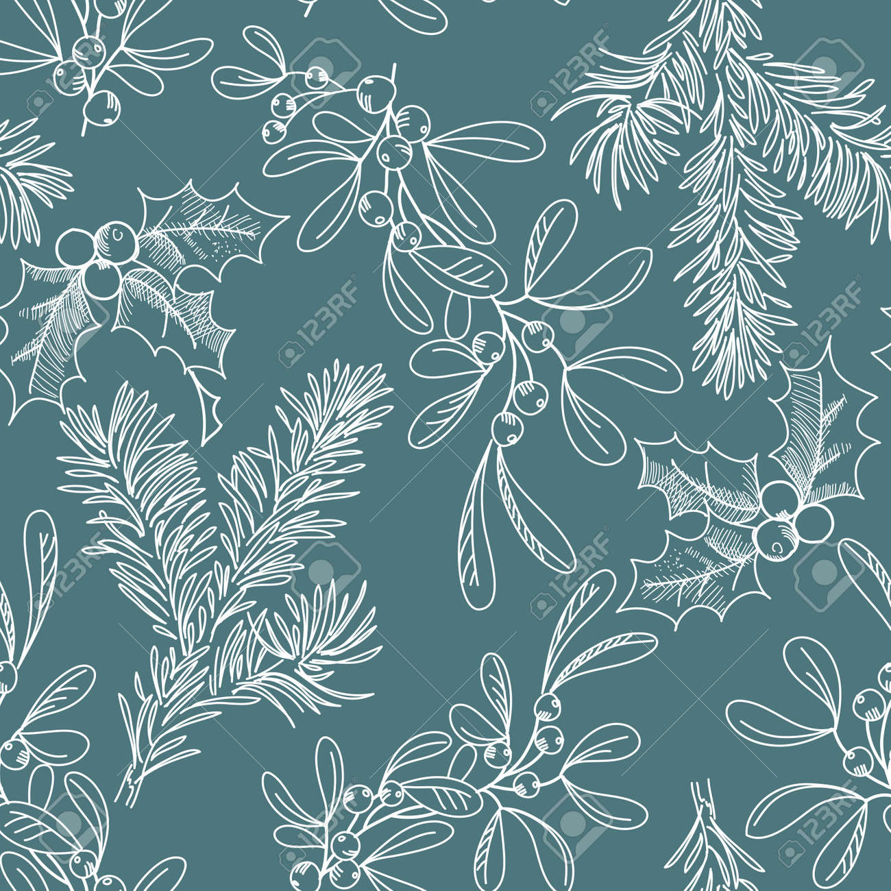 seamless background with Fir Misletoe and Holly Stock Vector - 12494162