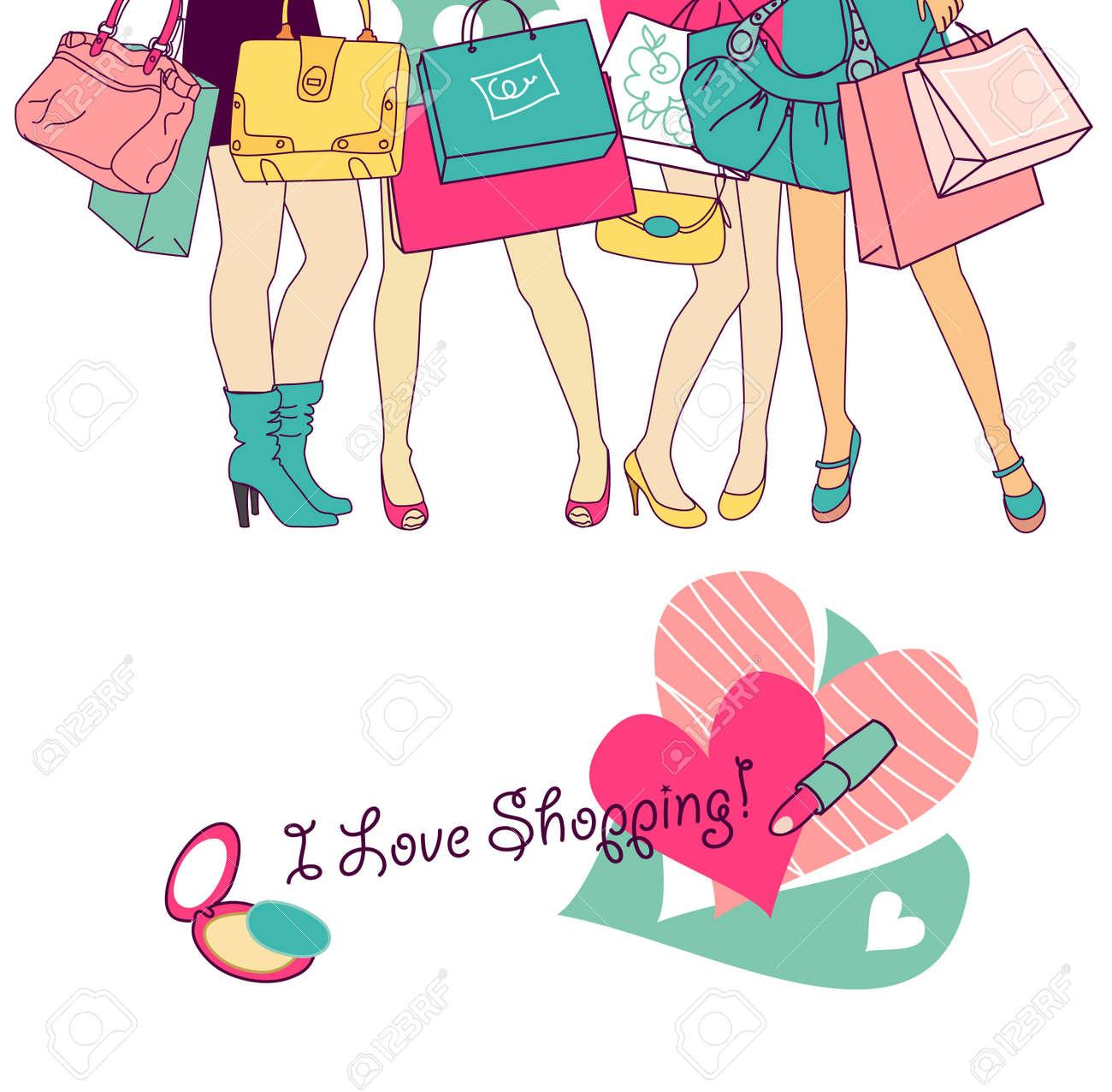 Shopping girls Stock Vector - 12494083