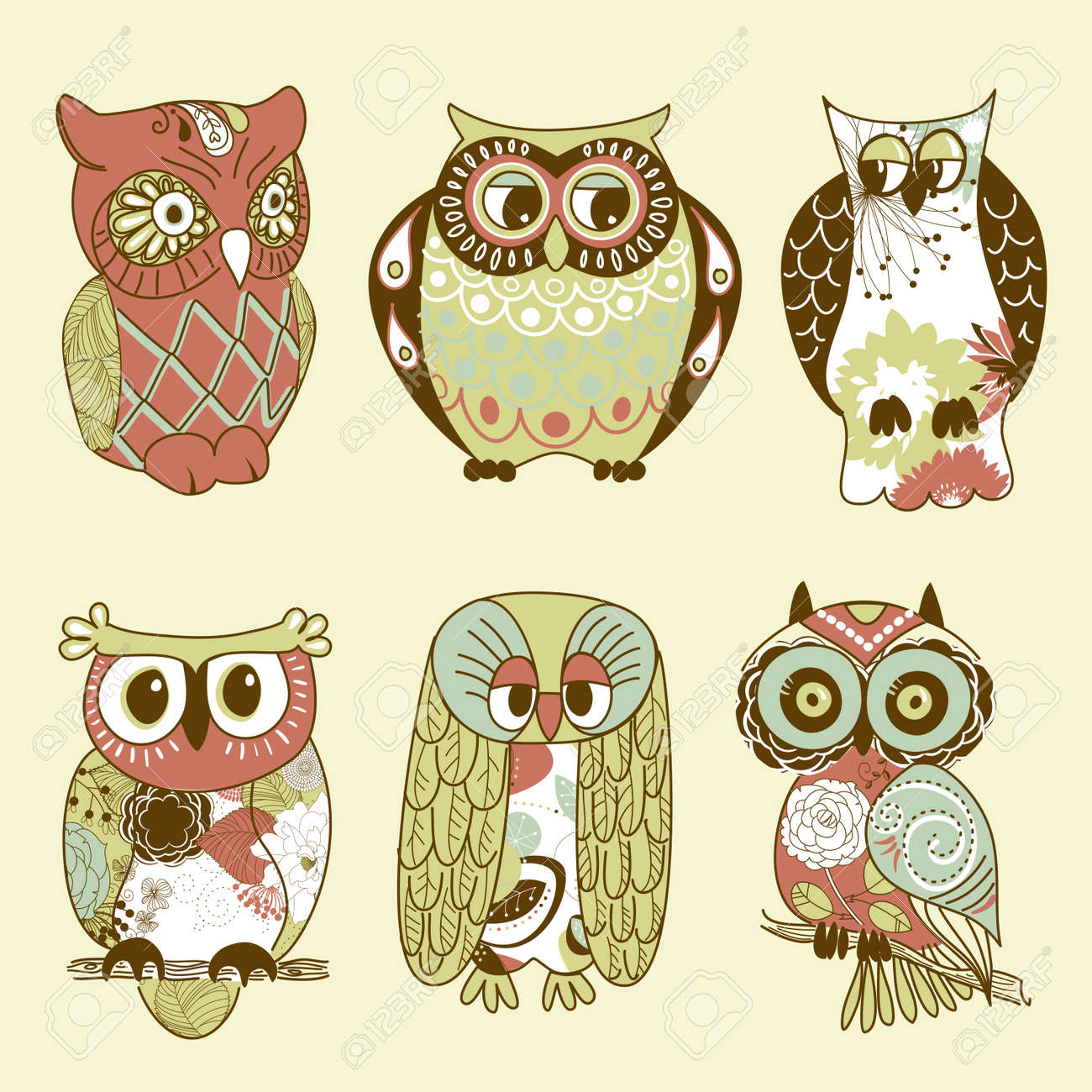 Collection of six different owls Stock Vector - 12494194