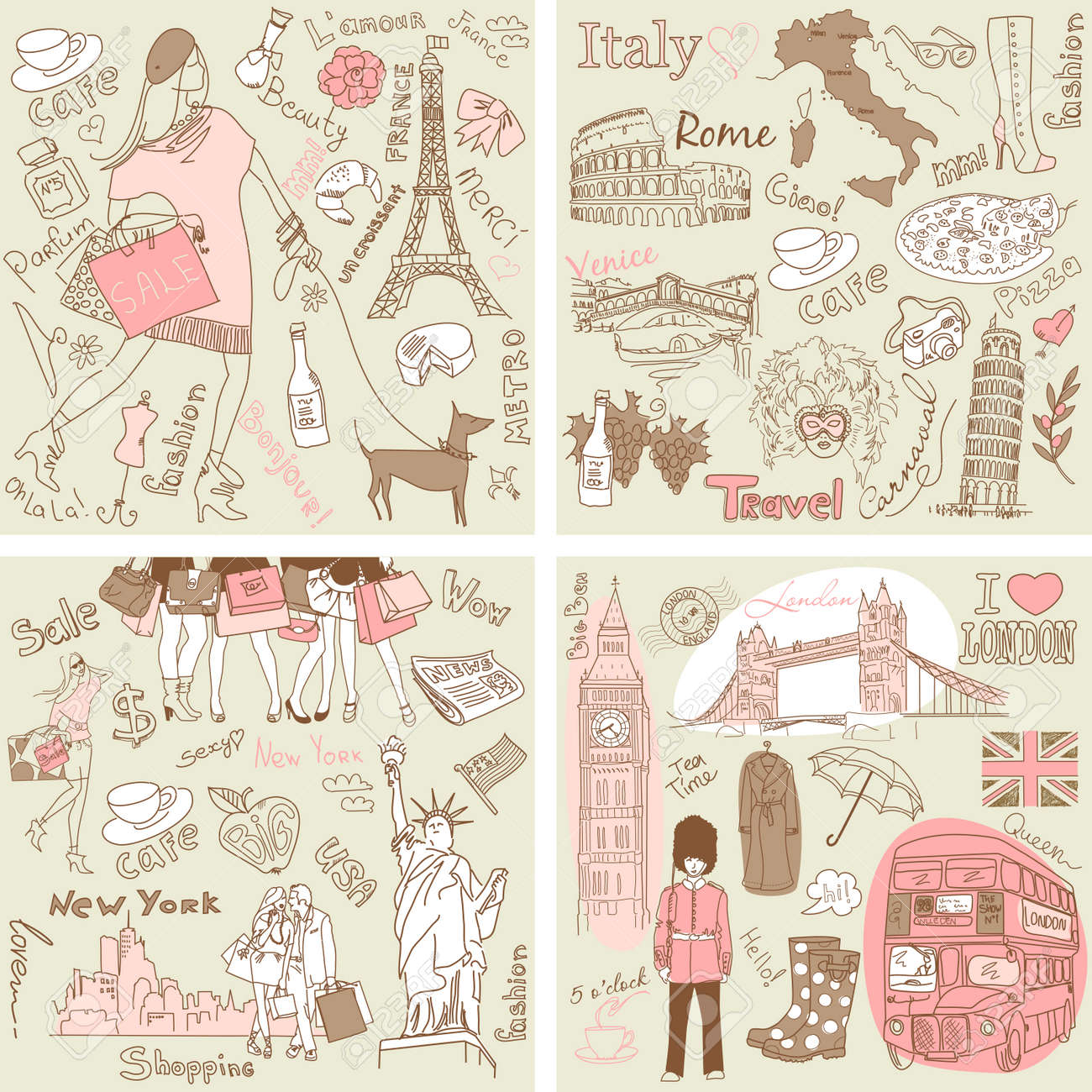 Italy, England, France, USA - four wonderful collections of hand drawn doodles Stock Vector - 12494231