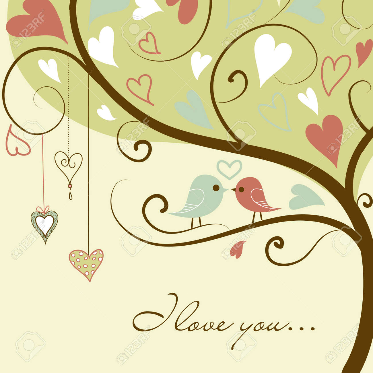 Stock Vector Illustration:stylized love tree made with two birds in love Stock Vector - 12494084