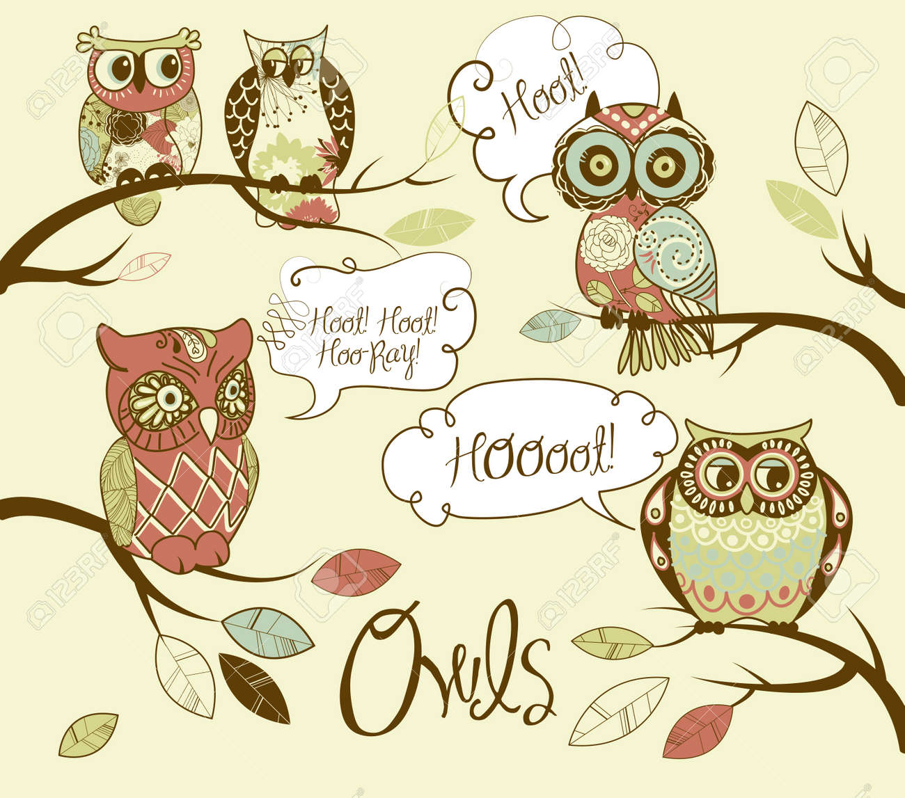 Collection of five different owls with speach bubbles Stock Vector - 12851304
