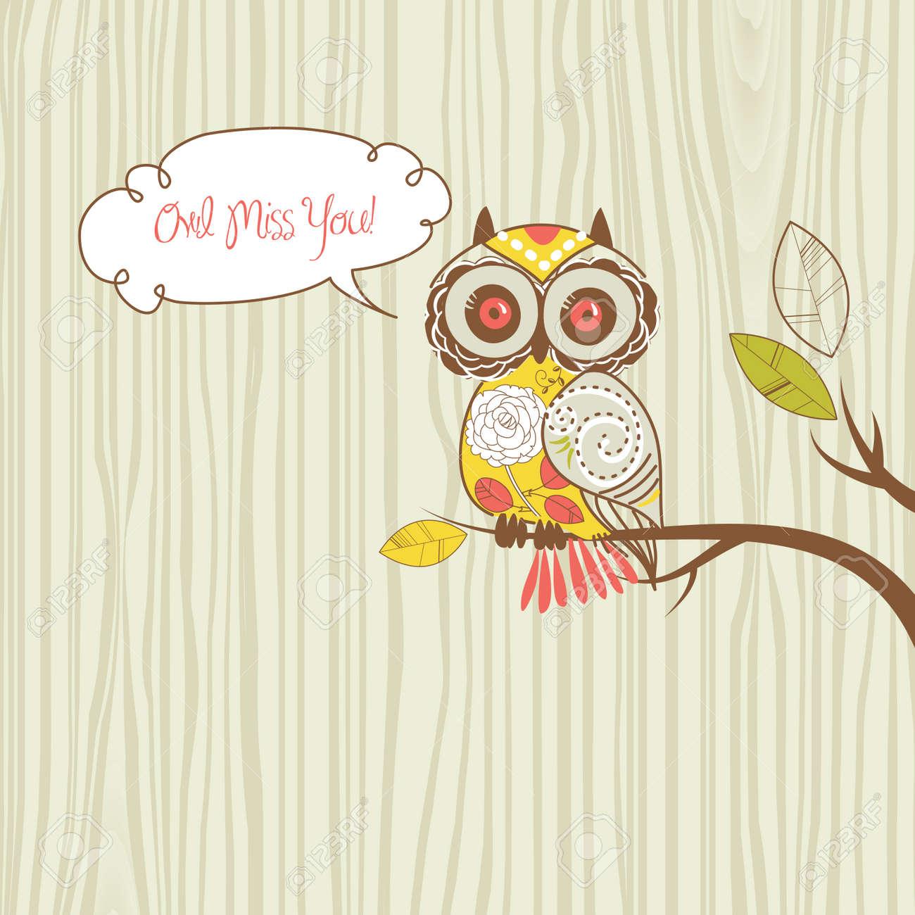 Cute Owl. Owl miss you card Stock Vector - 12851188