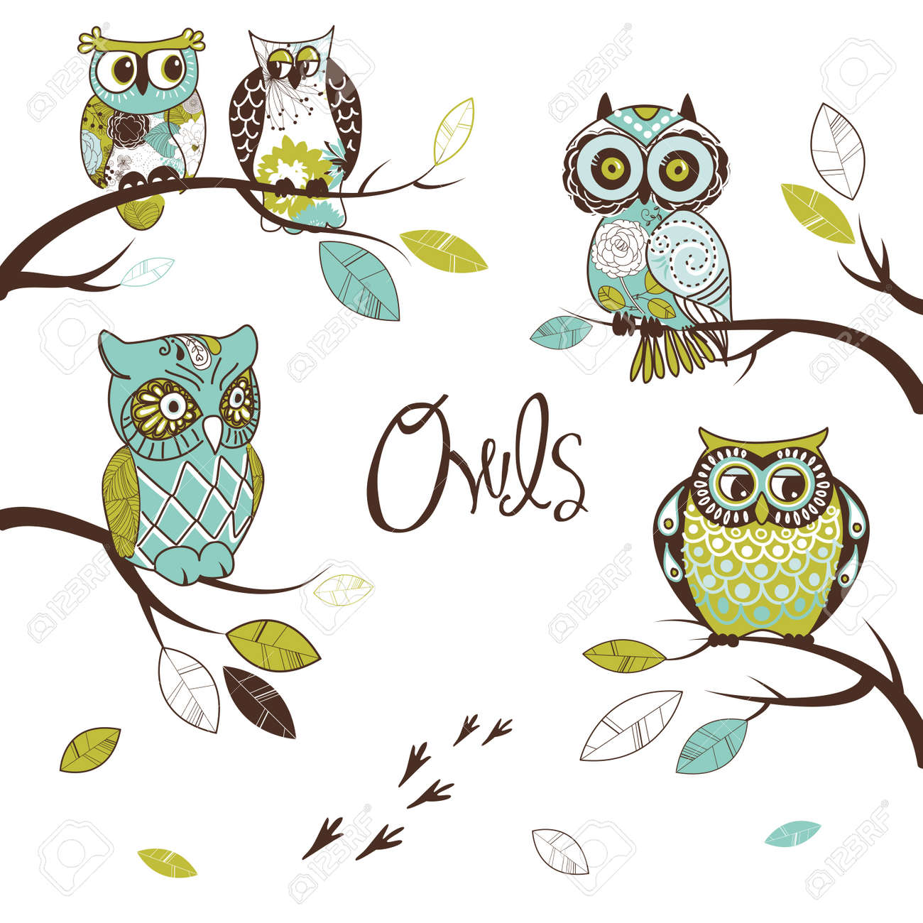 Collection of five different owls, sitting on the tree brunches Stock Vector - 12851300