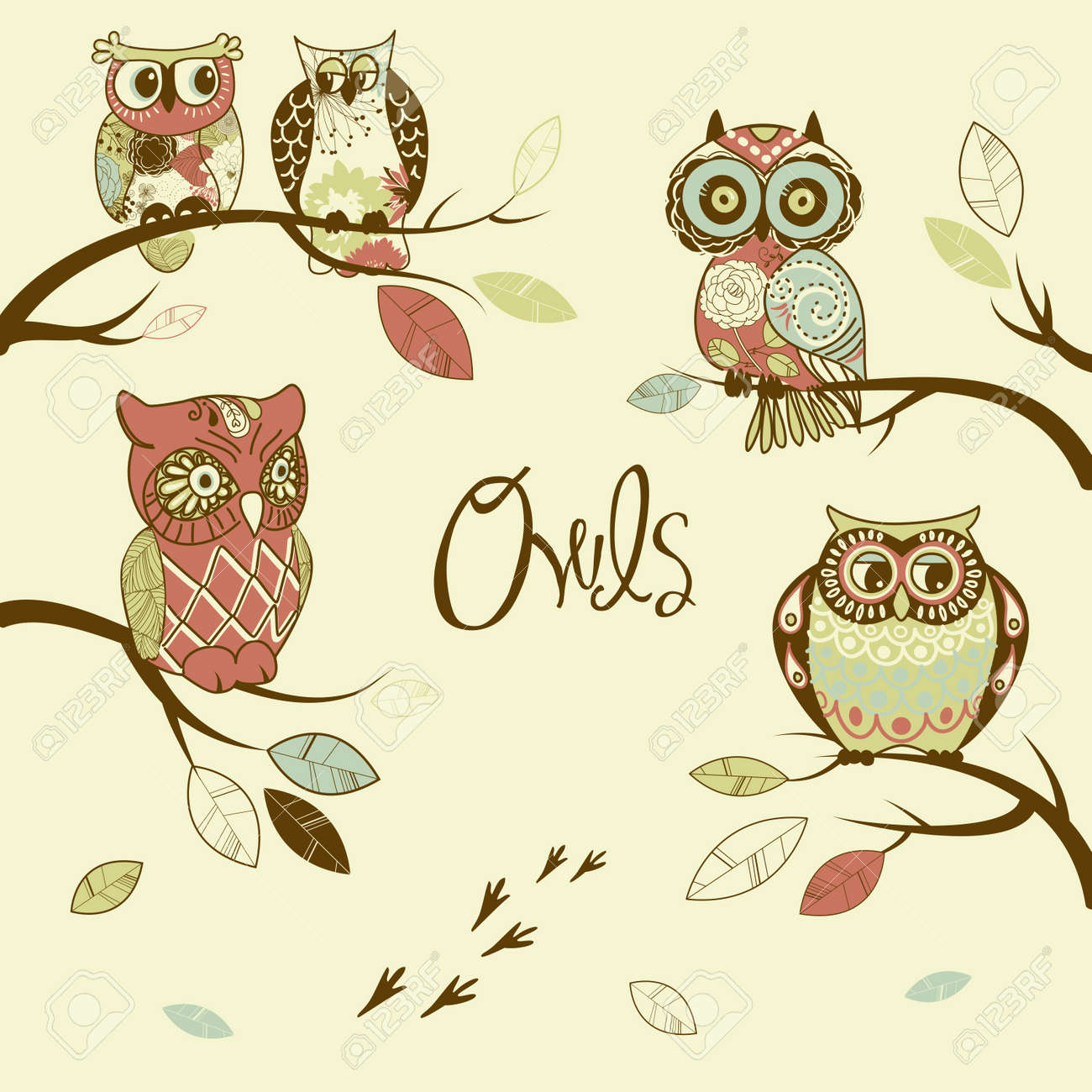 Owls, trendy card with owls sitting on the brunches Stock Vector - 12851299