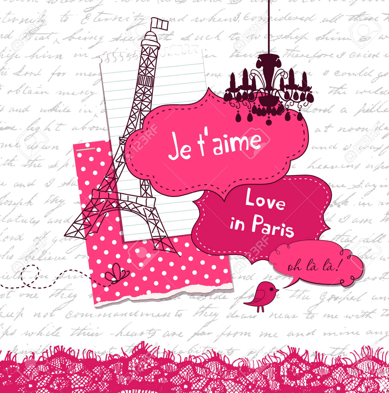 In Love with Paris, Cute scrapbook elements Stock Vector - 12851274