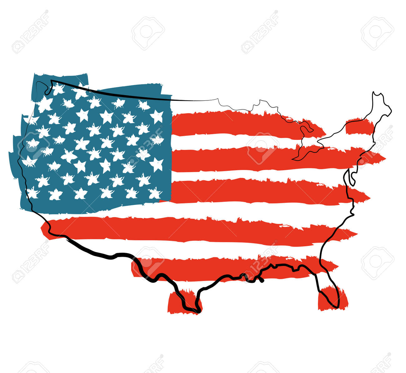 Cool USA Map With US Flag Royalty Free Cliparts, Vectors, And