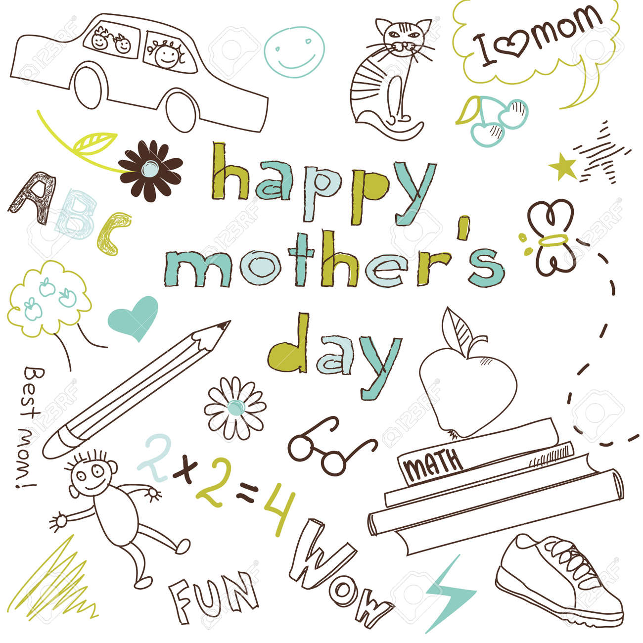 Mother's day card in a style of a Child's drawing Stock Vector - 13339754