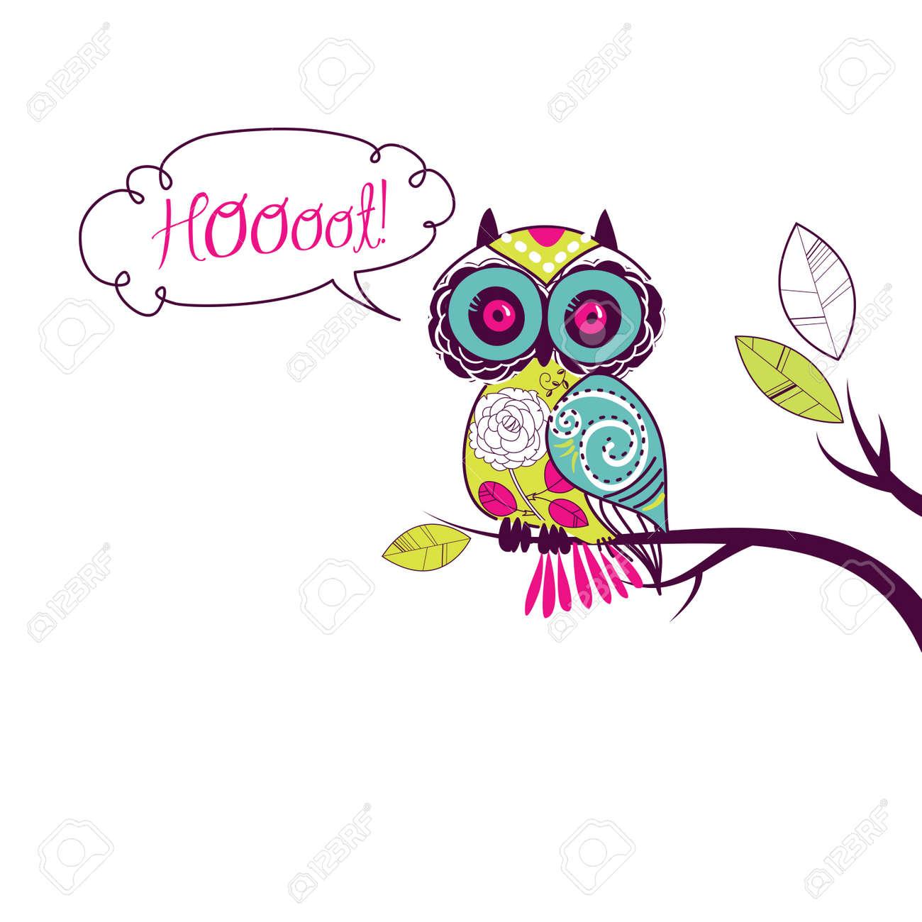 Cute Owl   Hoooot  card Stock Vector - 13339734