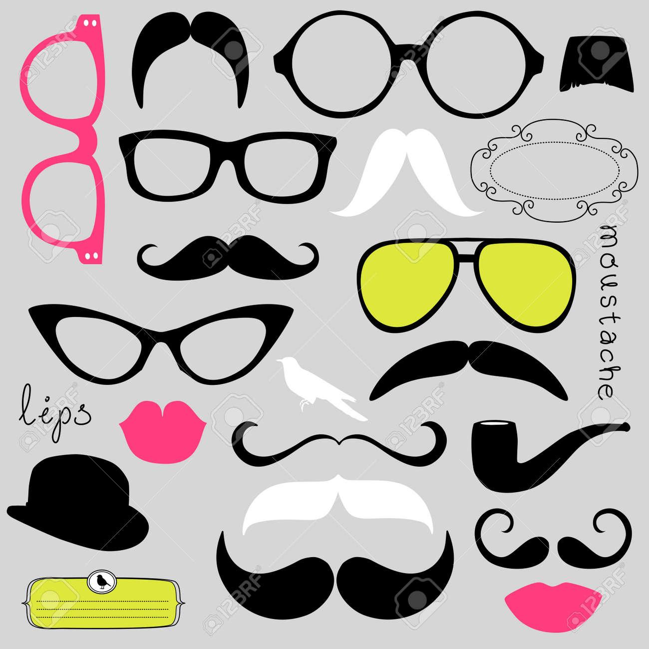 Retro Party set - Sunglasses, lips, mustaches Stock Vector - 13339730