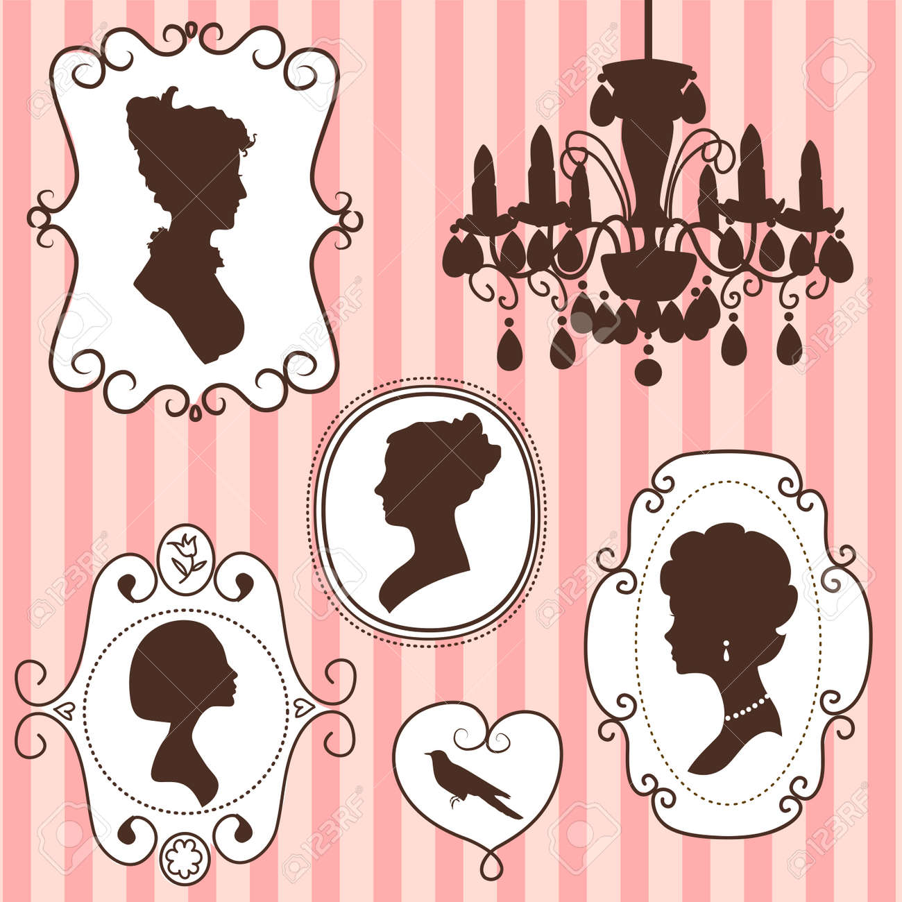 Cute vintage frames with ladies silhouettes Stock Vector - 13339790