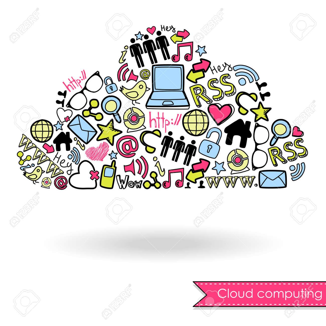 Cloud computing and social media concept. Cute Hand drawn doodles Stock Vector - 13339822