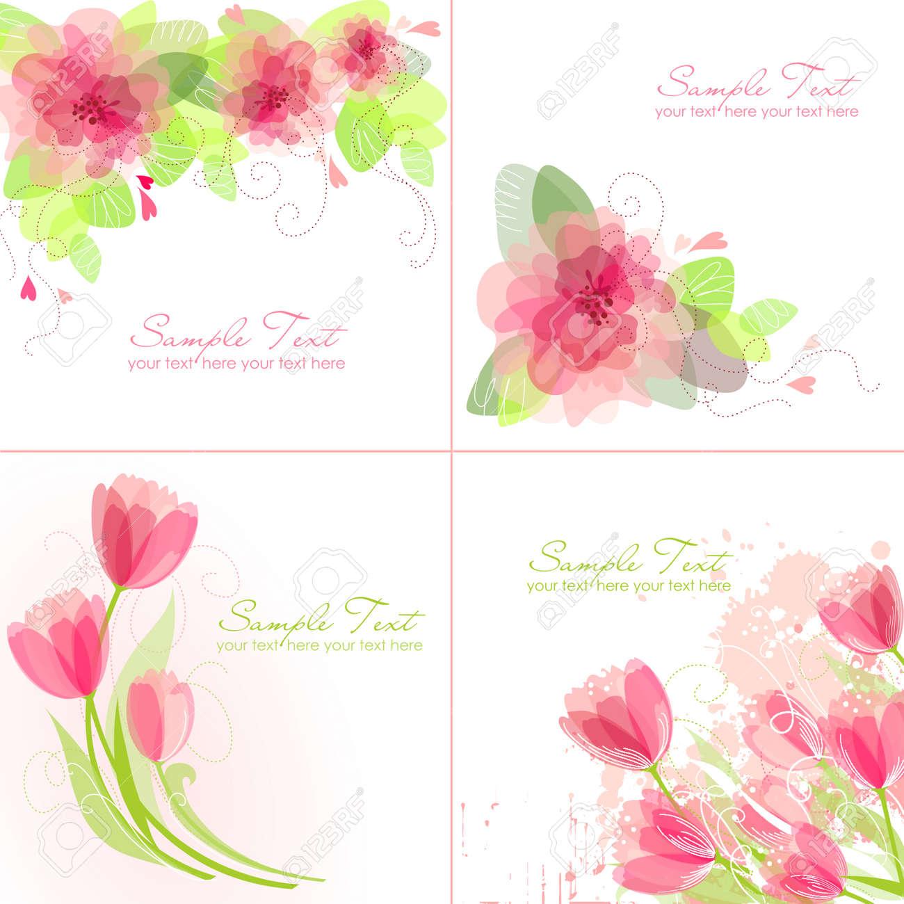 Set Mit 4 Romantic Flower Backgrounds In Rosa Und Weißen Farben ...