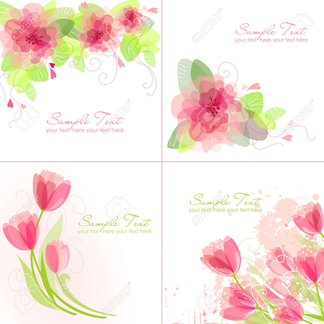 Set of 4 Romantic Flower Backgrounds in pink and white colours. Ideal for Wedding invitation, birthday card or mother's day card Stock Vector - 13339841