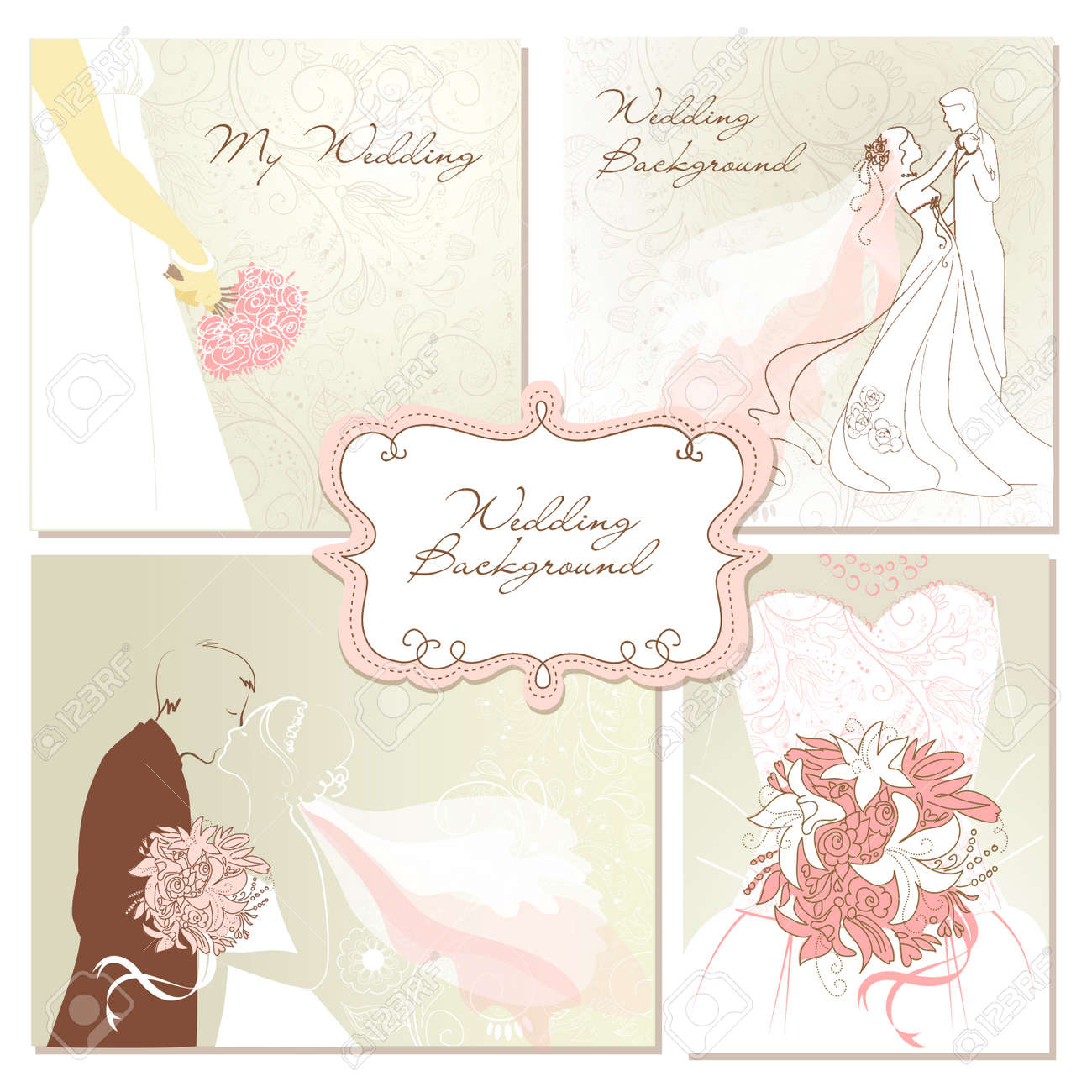 Set Of Beautiful Vector Wedding Backgrounds Easy To Edit Perfect