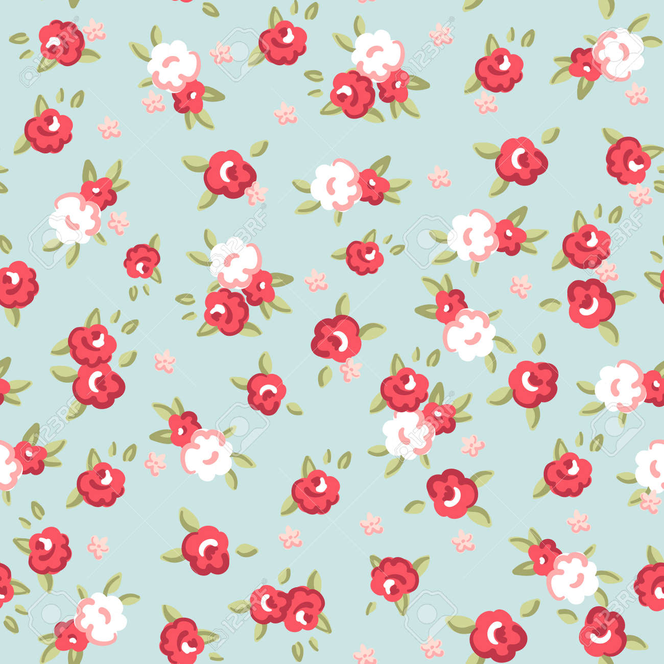English Rose Seamless Wallpaper Pattern With Pink Roses On Blue