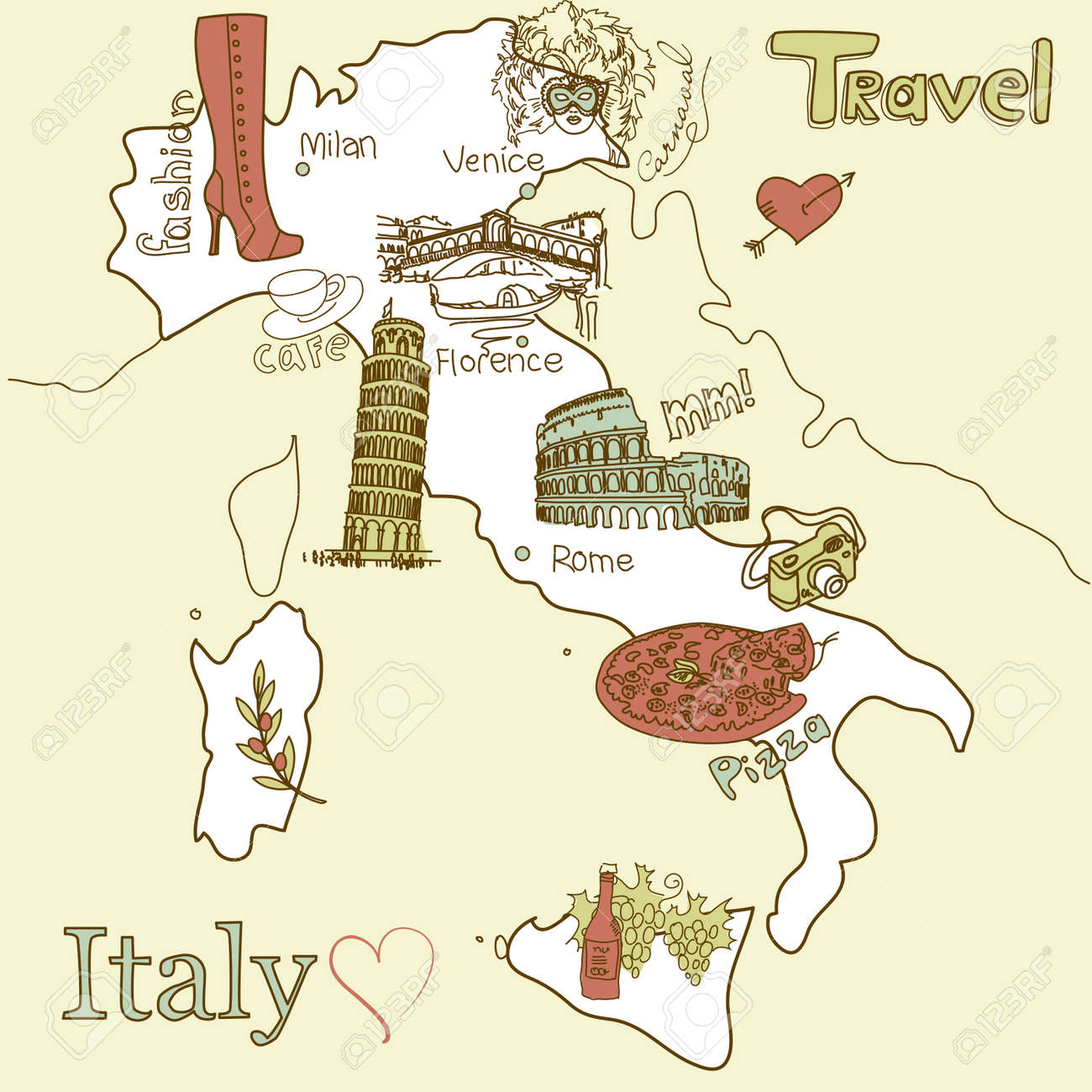 Creative Map Of Italy Sightseeing In Italy Royalty Free Cliparts – Tourist Map Of Venice Italy