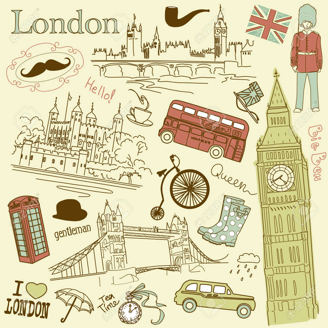London doodles Stock Vector - 13340577