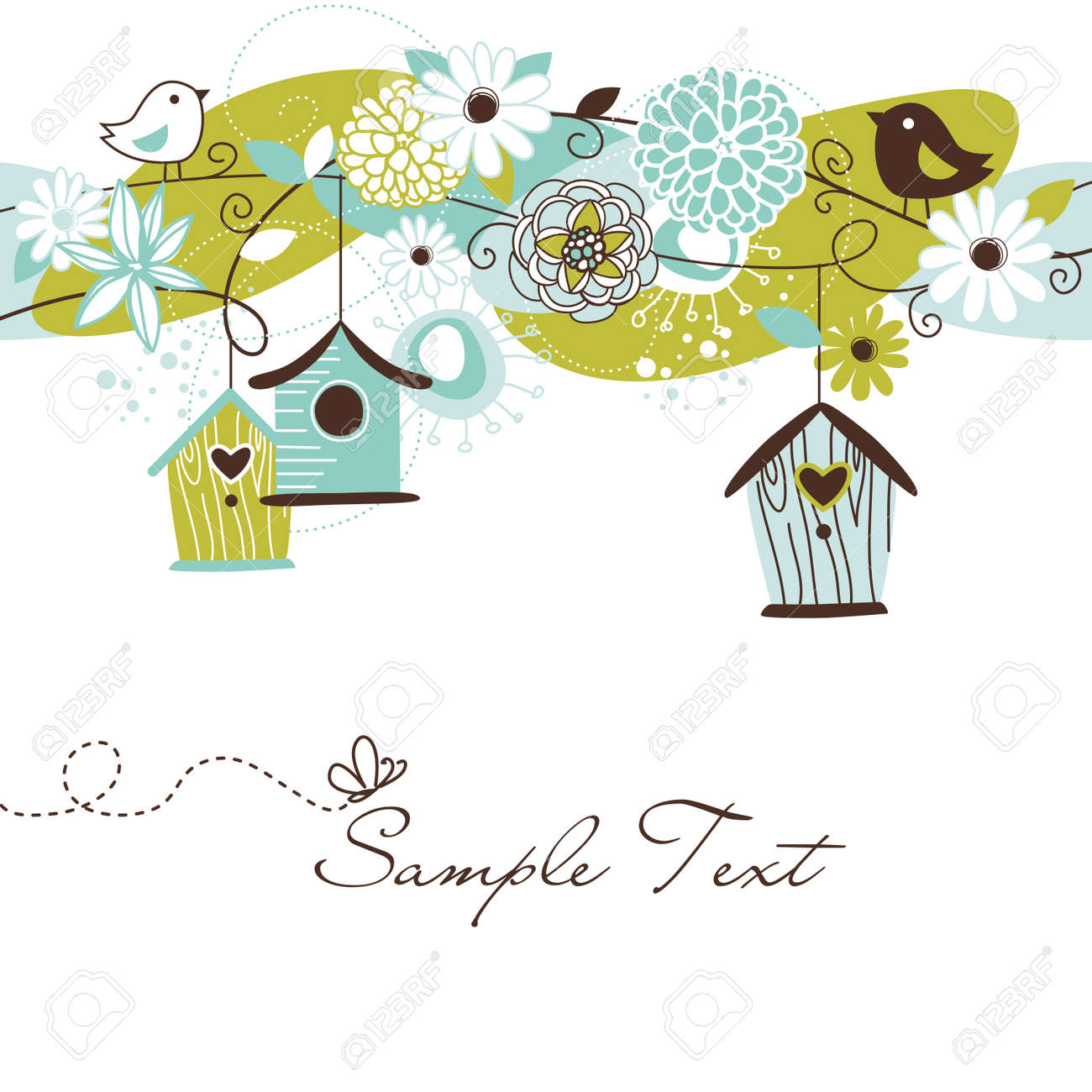 Beautiful Spring background with bird houses, birds and flowers Stock Vector - 13346964