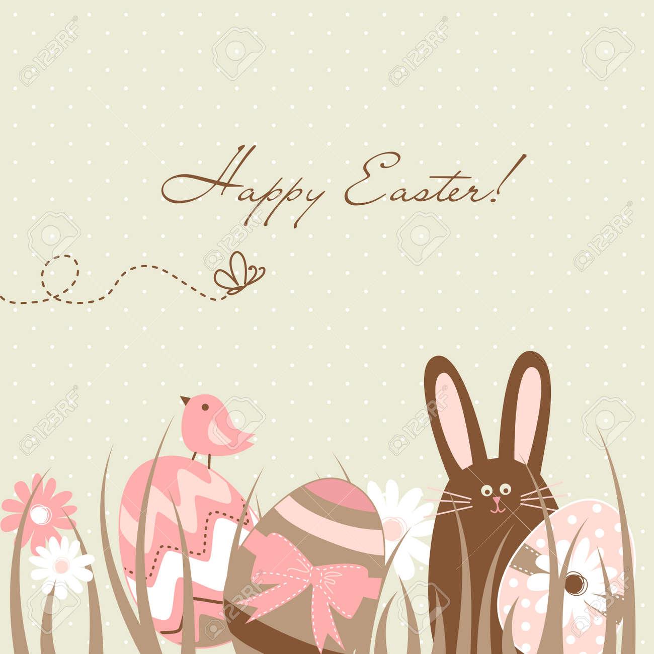 Cute Easter Egg Card Stock Vector - 13346938
