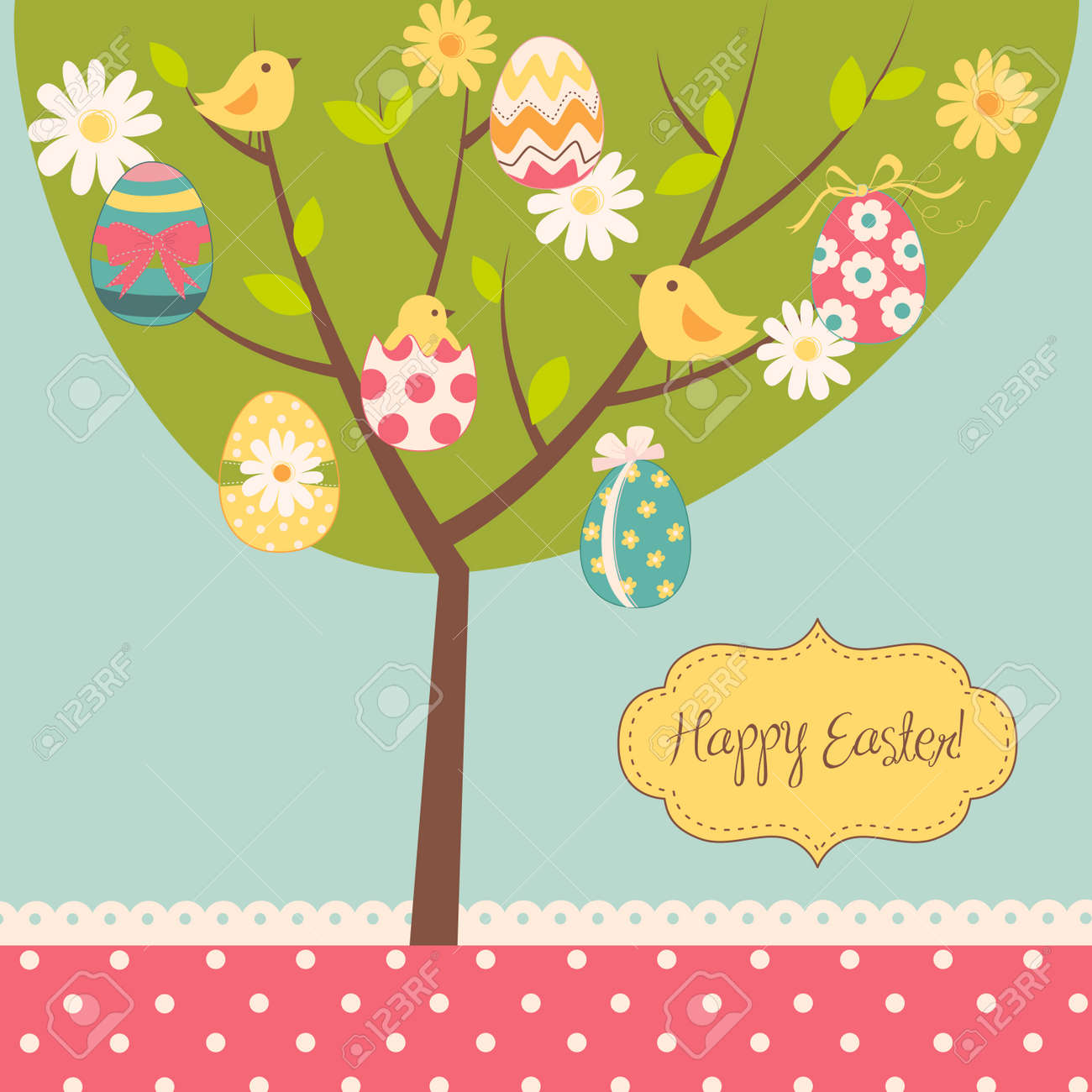 Easter card. Retro Easter tree card Stock Vector - 13346936