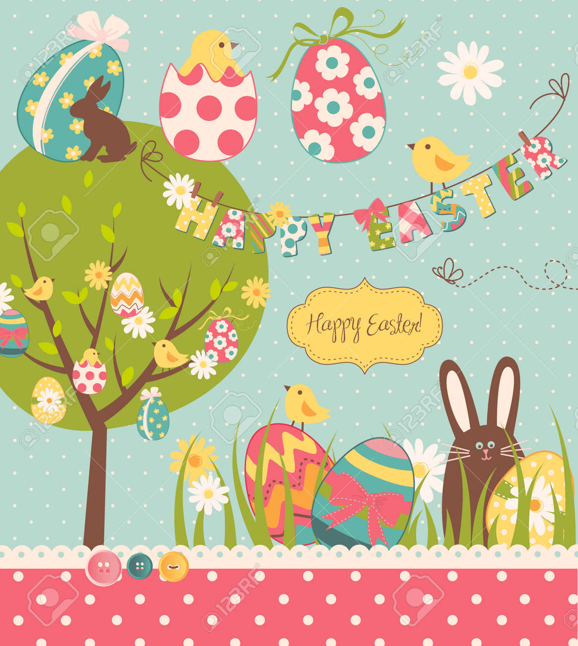 Easter Extravaganza. Big Easter set with cute chocolate rabbit, colourful eggs, chicks, Easter tree and a Clothesline with letters on it. Ideal for scrapbooking Stock Vector - 13346961