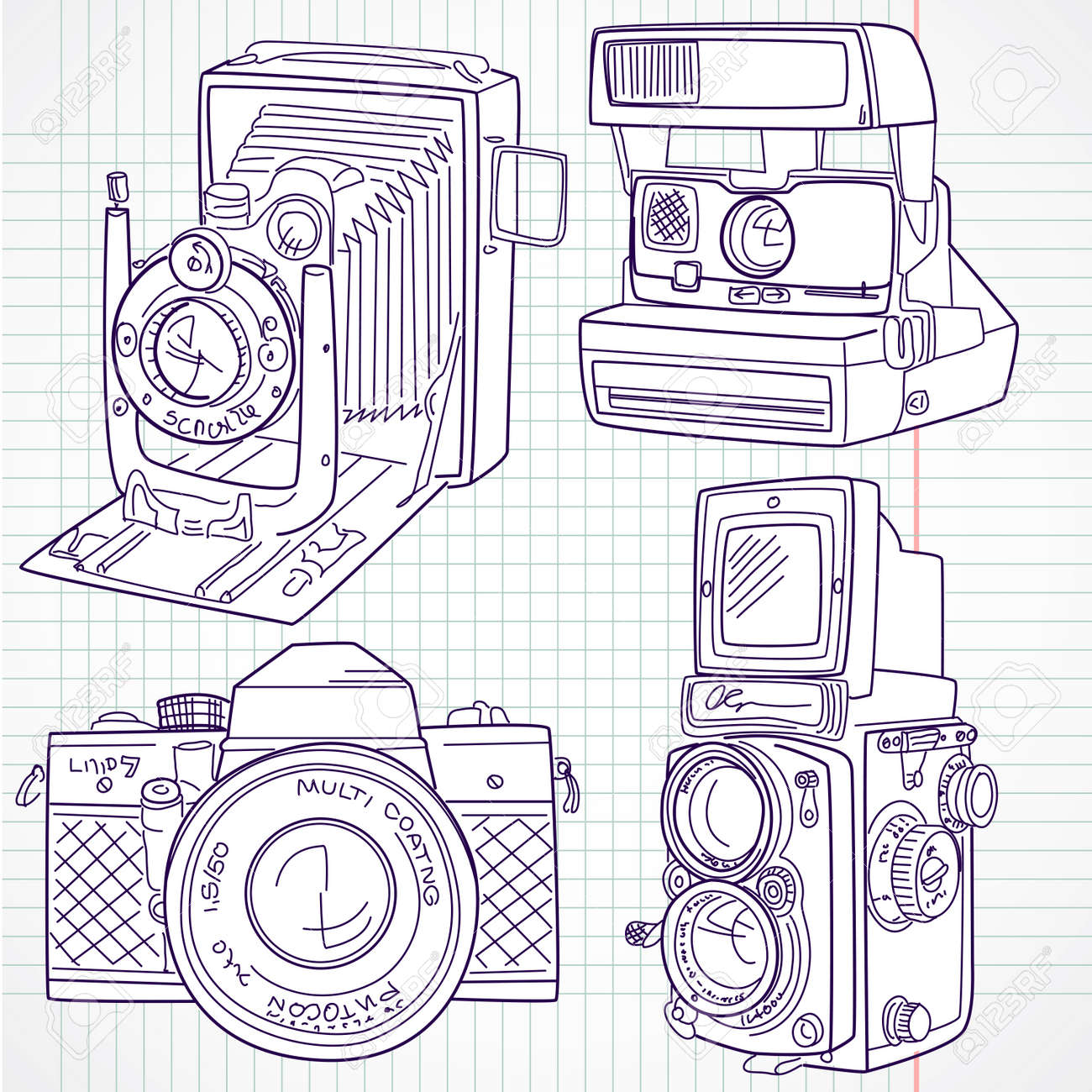 Cool hand drawn old camera set, all time legends Stock Vector - 14255076