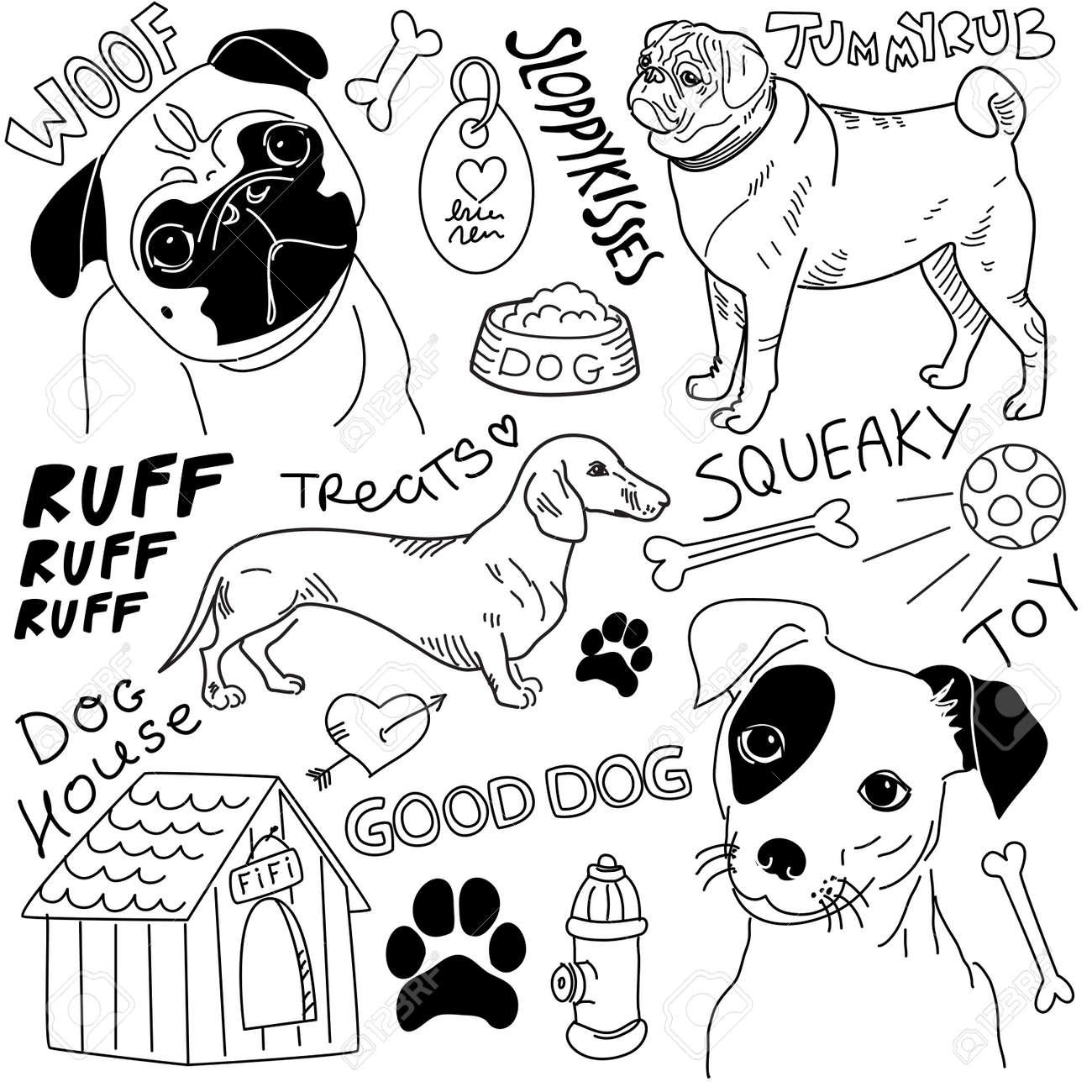 I love Dogs! vector doodles set Stock Vector - 14255052