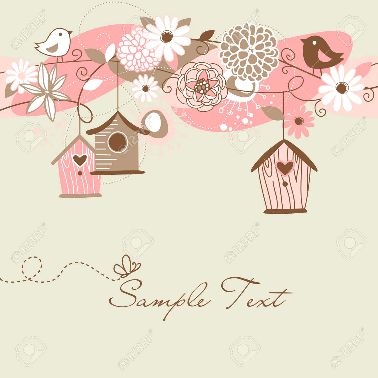 Beautiful Spring background with bird houses, birds and flowers Stock Vector - 14255086