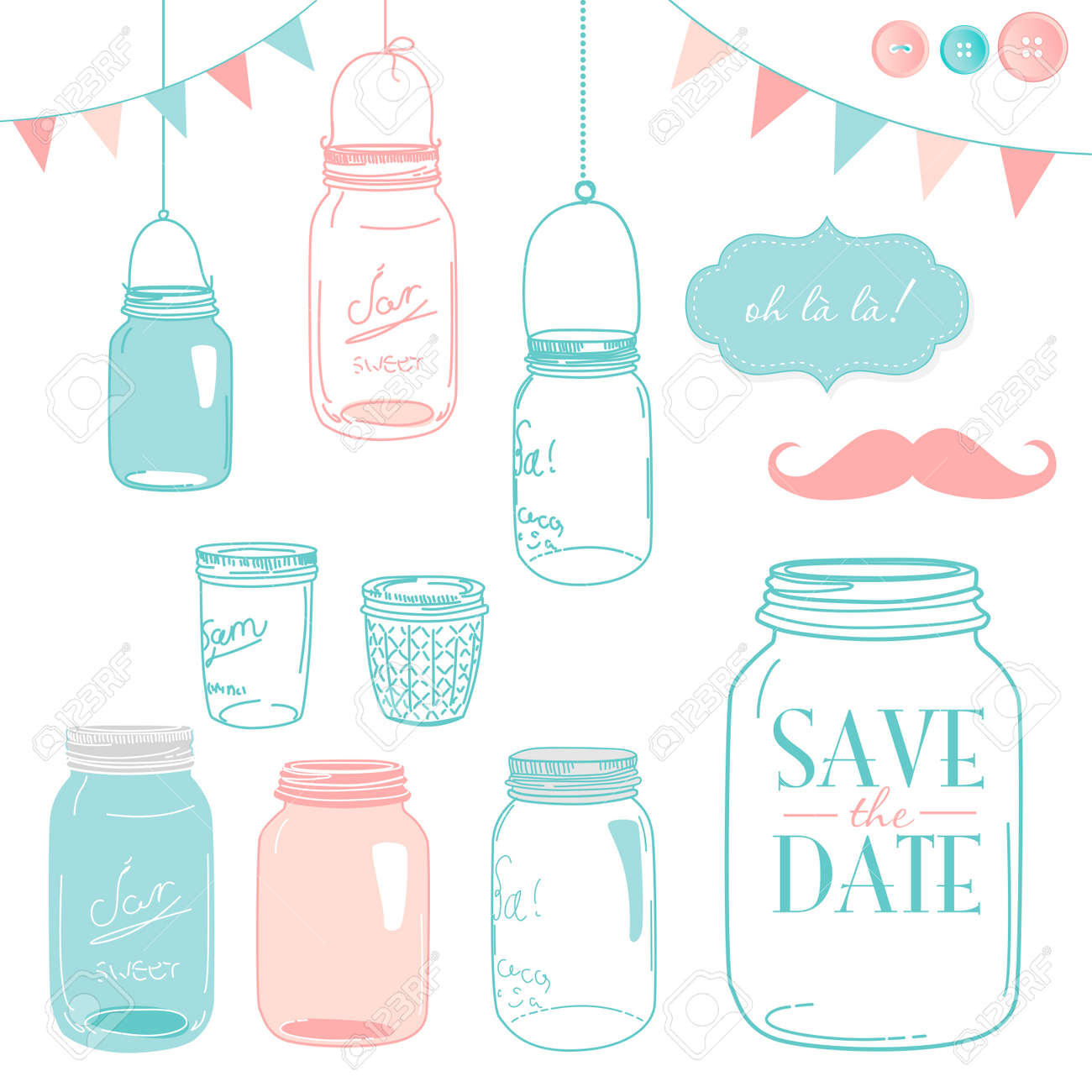 Glass Jars, frames and cute seamless backgrounds. Ideal for wedding invitations and Save the Date invitations Stock Vector - 14255074