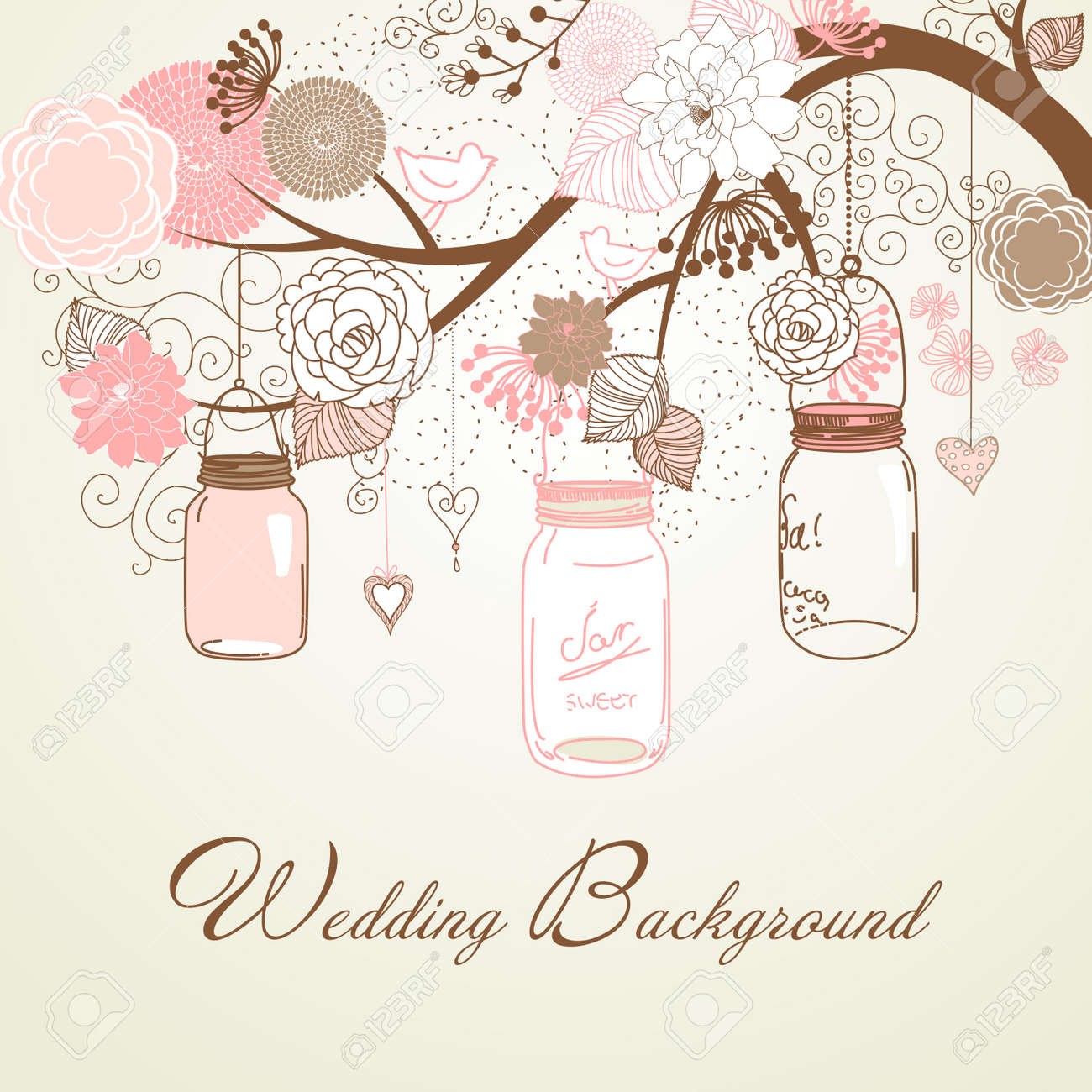 Floral summer background. Glass jars hanging from the brunch Stock Vector - 14255138