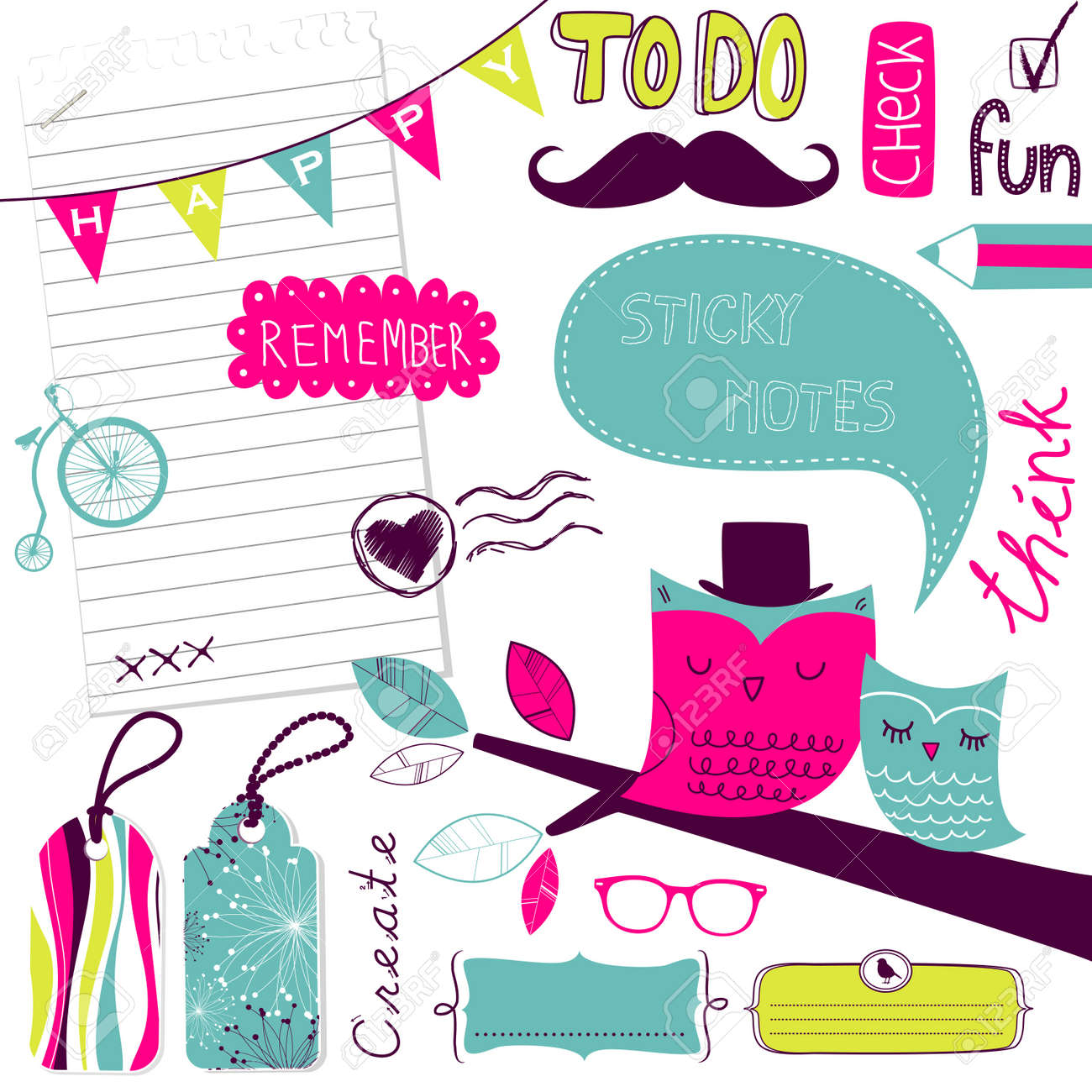 Cute scrapbook elements, sticky notes Stock Vector - 14255104