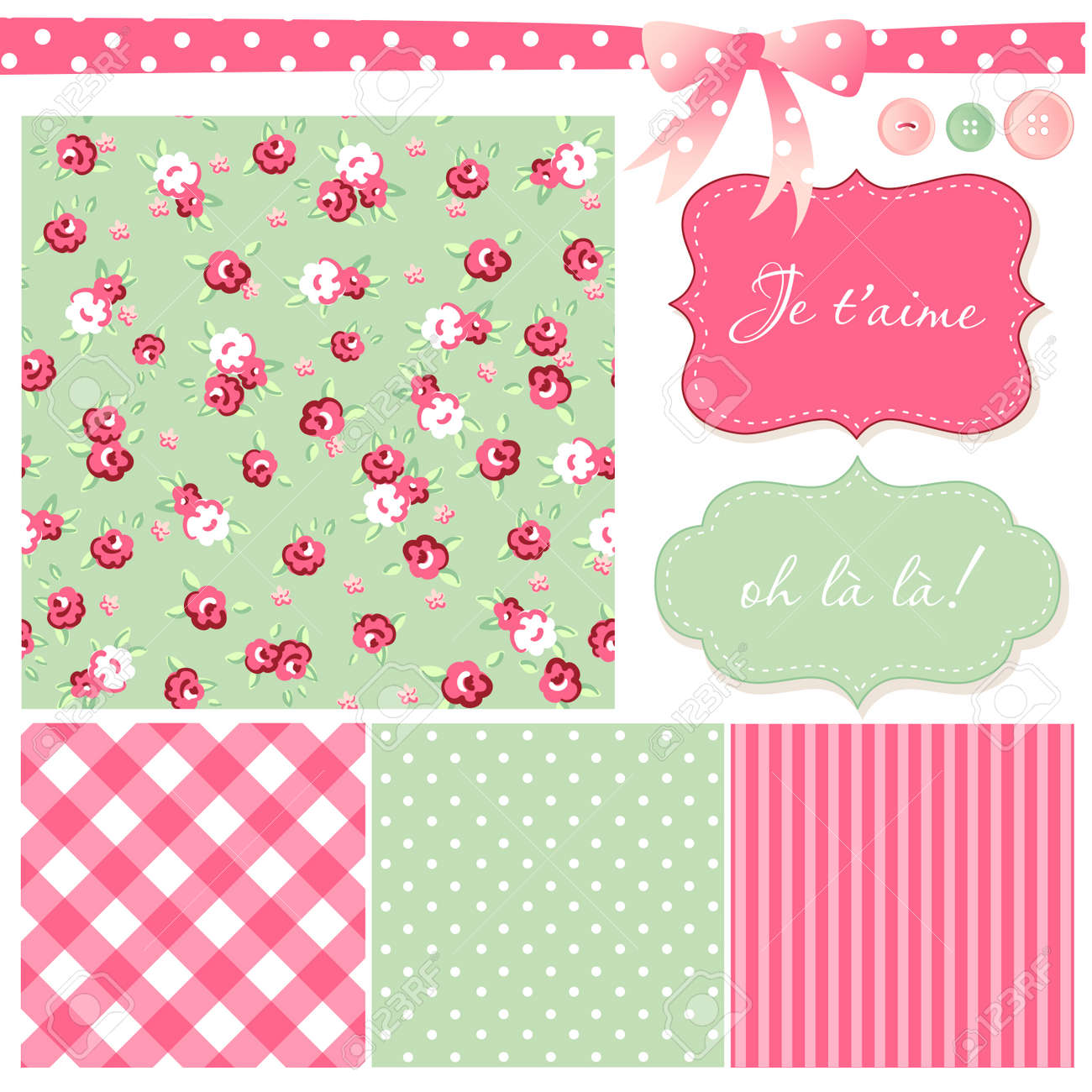 Cute Scrapbook Paper Patterns Vintage Rose Pattern  frames