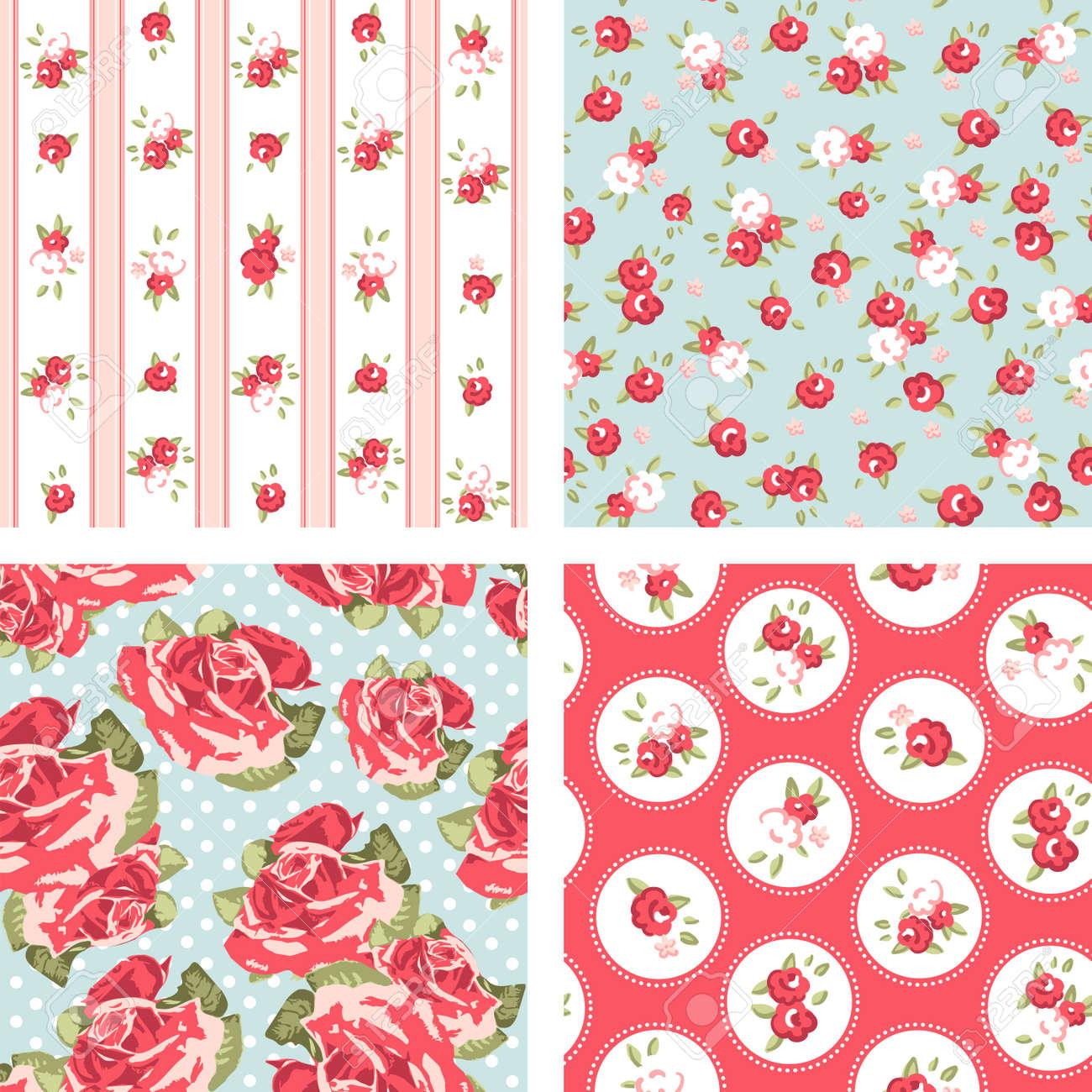 Shabby Chic set, 4 Vintage rose patterns Seamless Rose wallpaper Stock Vector - 14255157