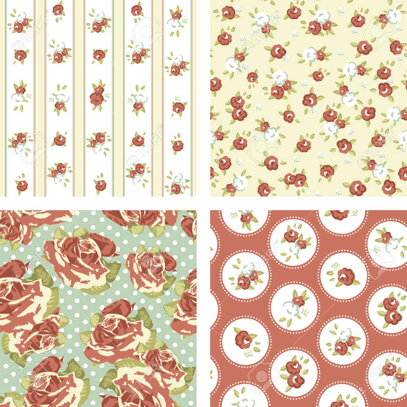 Shabby Chic Set 4 Vintage Rose Patterns Seamless Wallpaper Stock Vector
