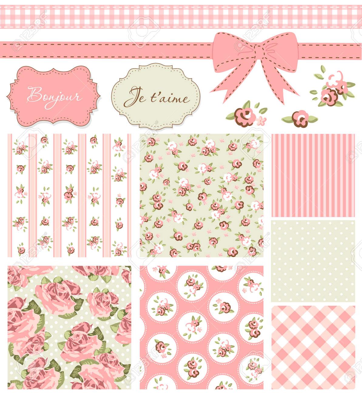 Vintage Rose Patrón, Marcos Y Fondos Lindos Sin Costura. Ideal Para ...
