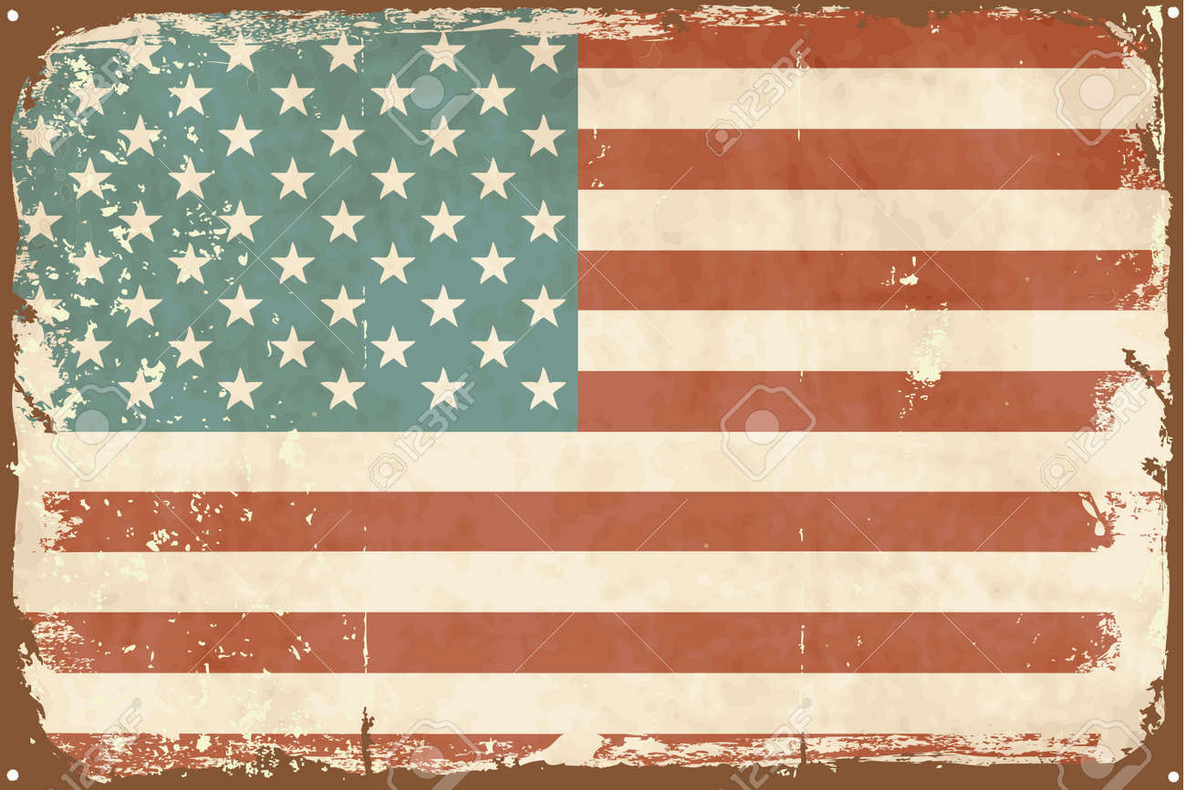 Vintage style American Flag on the tin sign Stock Vector - 14255168