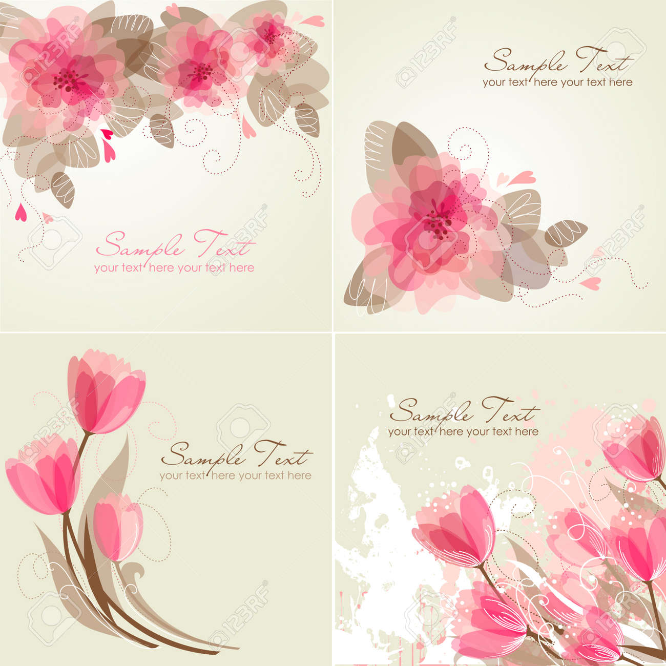 Set Of 4 Romantic Flower Backgrounds In Pink And White Colours ...