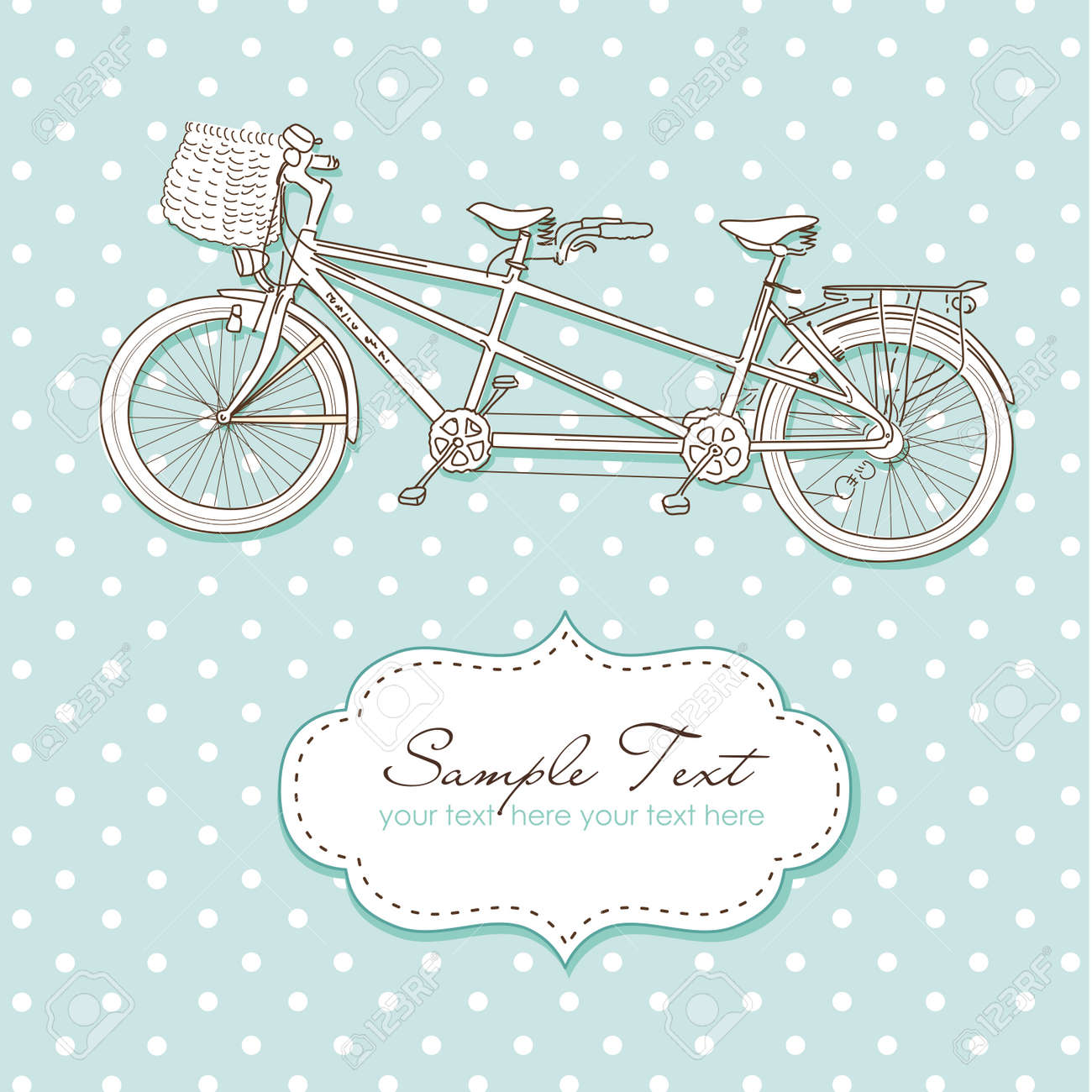 Tandem Bicycle Wedding Invitation with polka dot background Stock Vector - 15158499