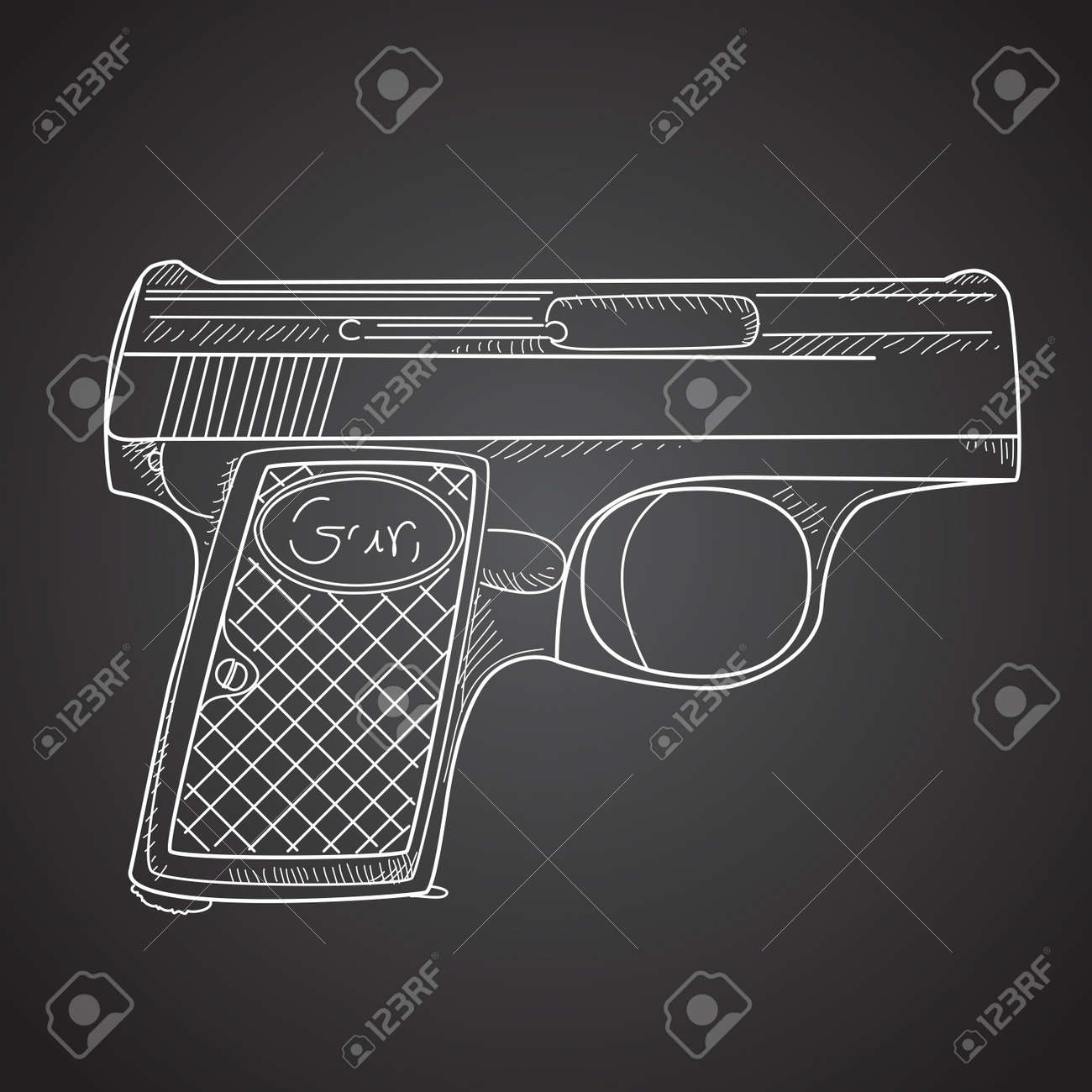 Gun doodle on black background Stock Vector - 15158418