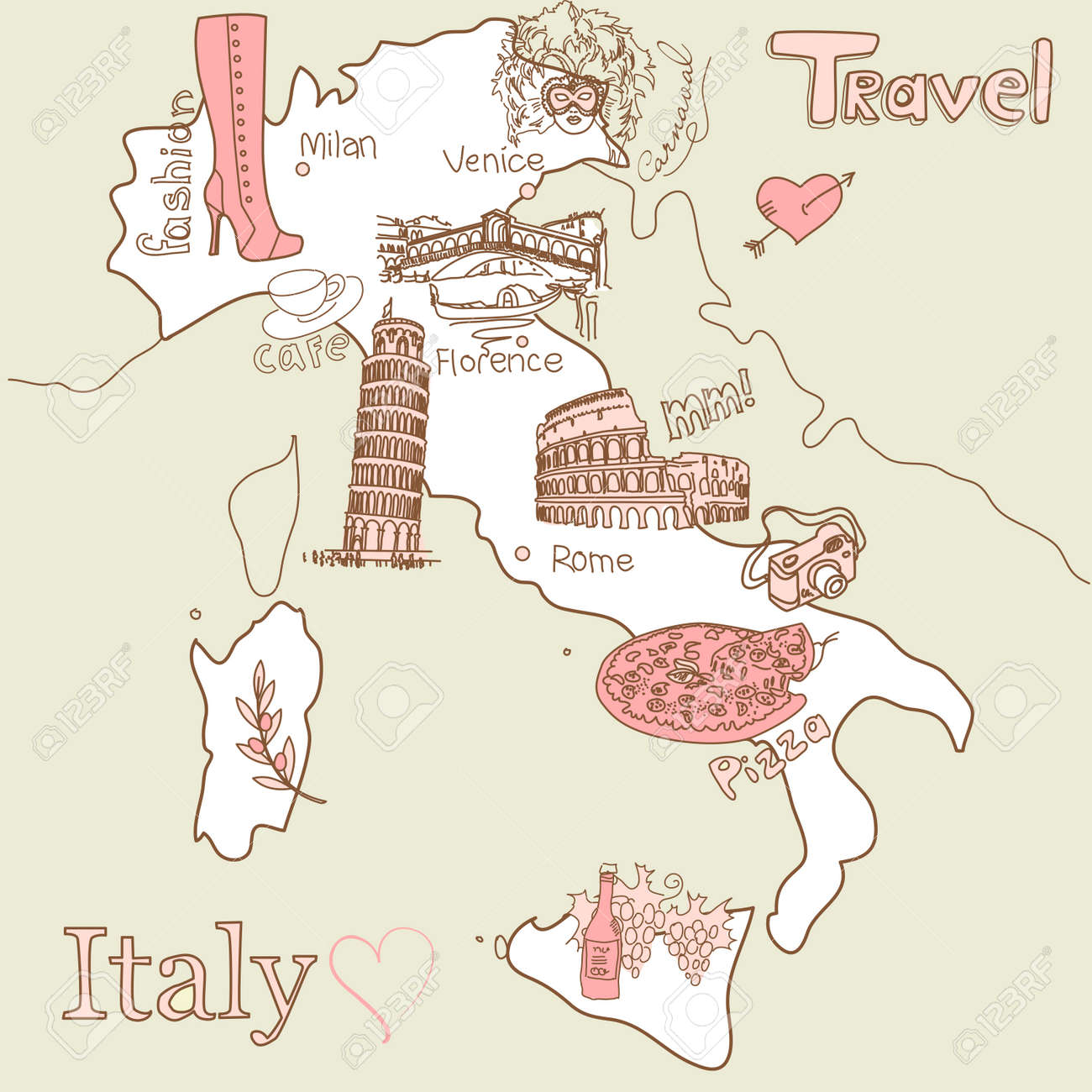 Creative Map Of Italy All The Best Tourist Attractions